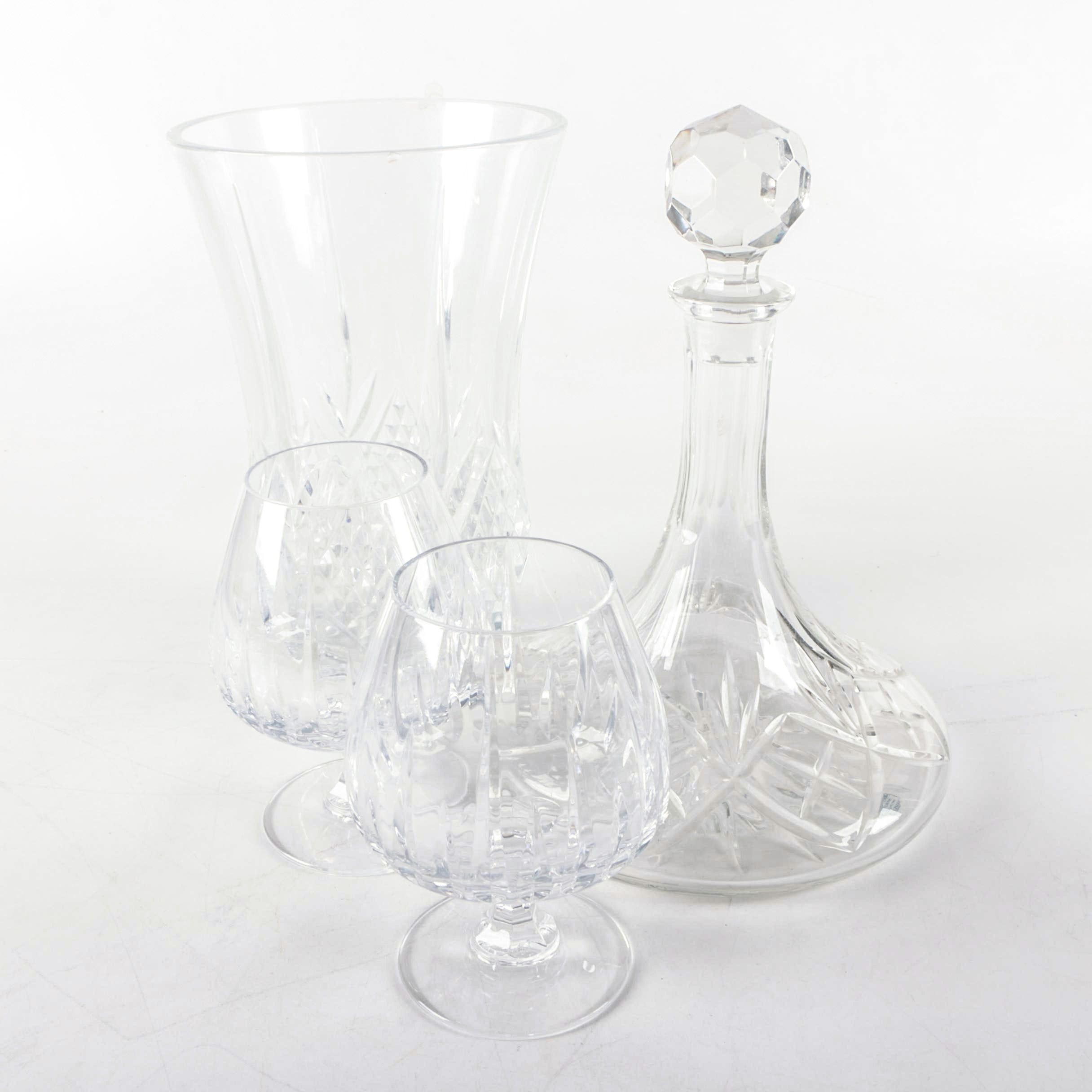 """Samobor """"Illusions"""" Crystal Ships Decanter with Glasses and Vase"""