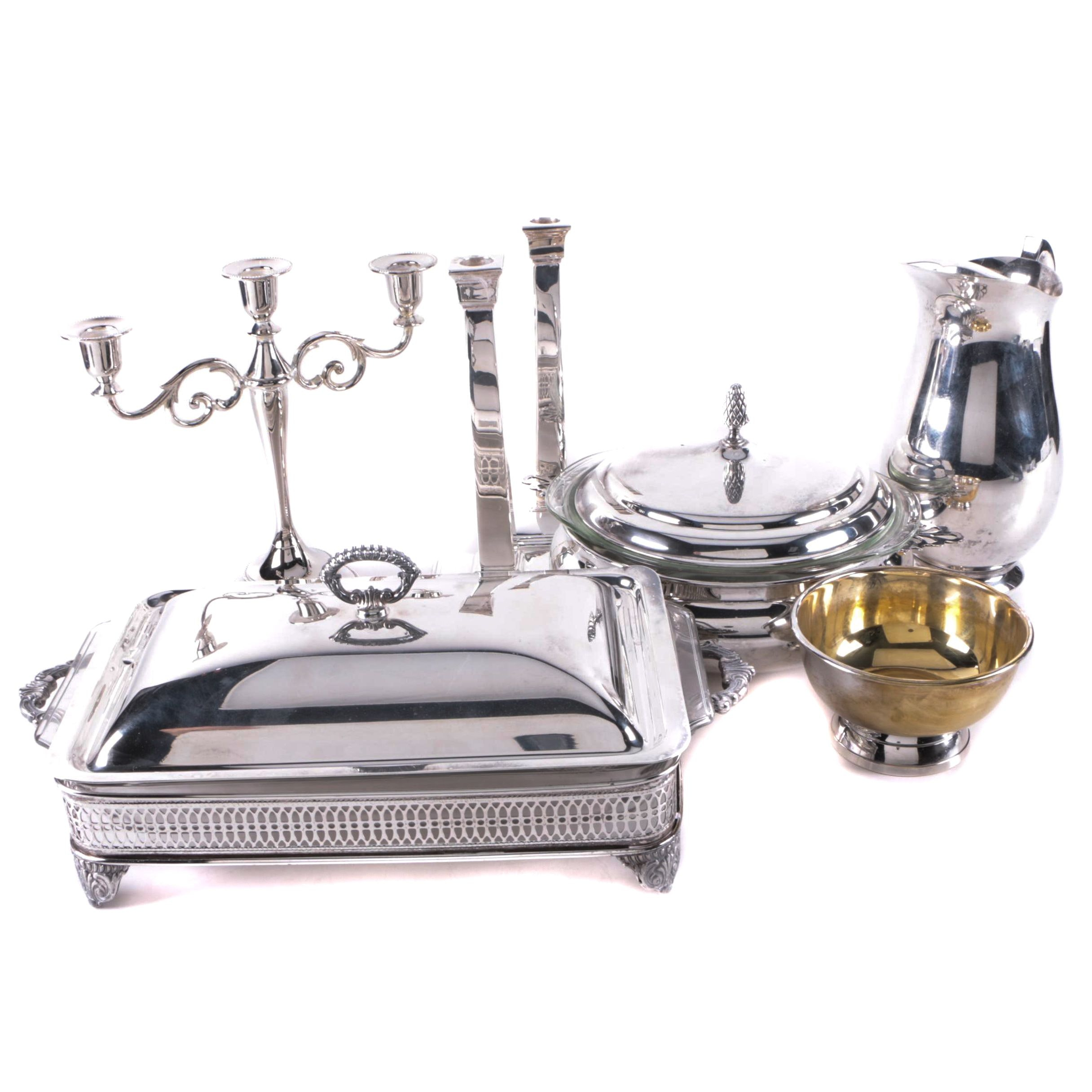 International Silver Co Silver Plate Candelabrum and Assorted Silver Plate