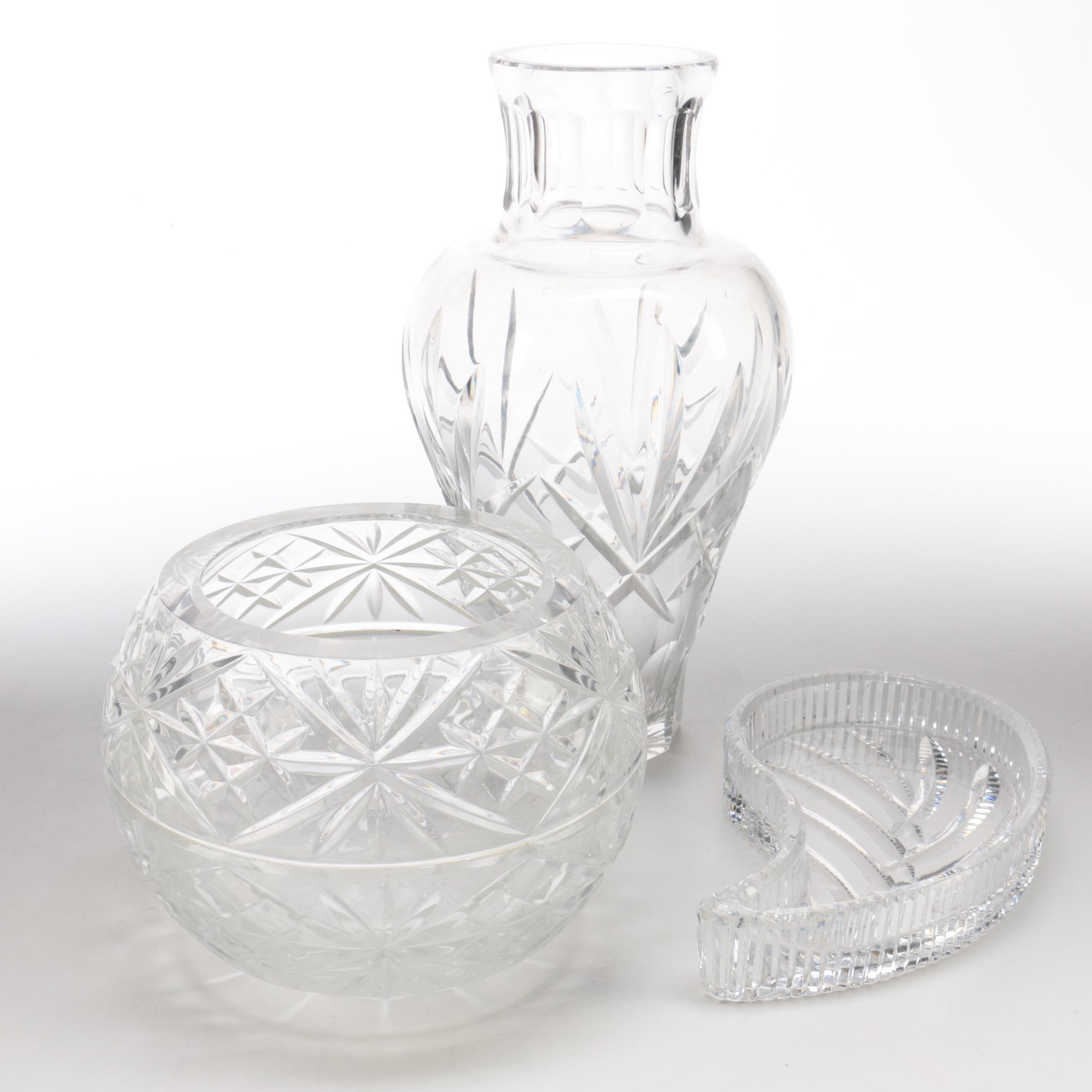 Selection of Crystal Vases and a Tray