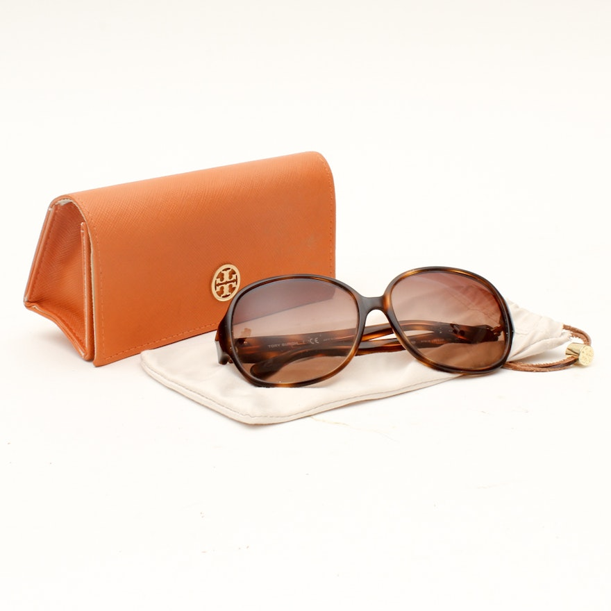 478ed87709 Tory Burch Brown Faux Tortoise Butterfly Sunglasses with Case   EBTH