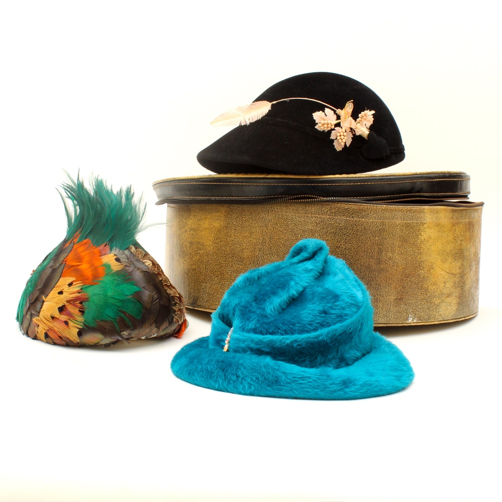 Women's Vintage Felted Fur and Feathered Hats and Hat Box