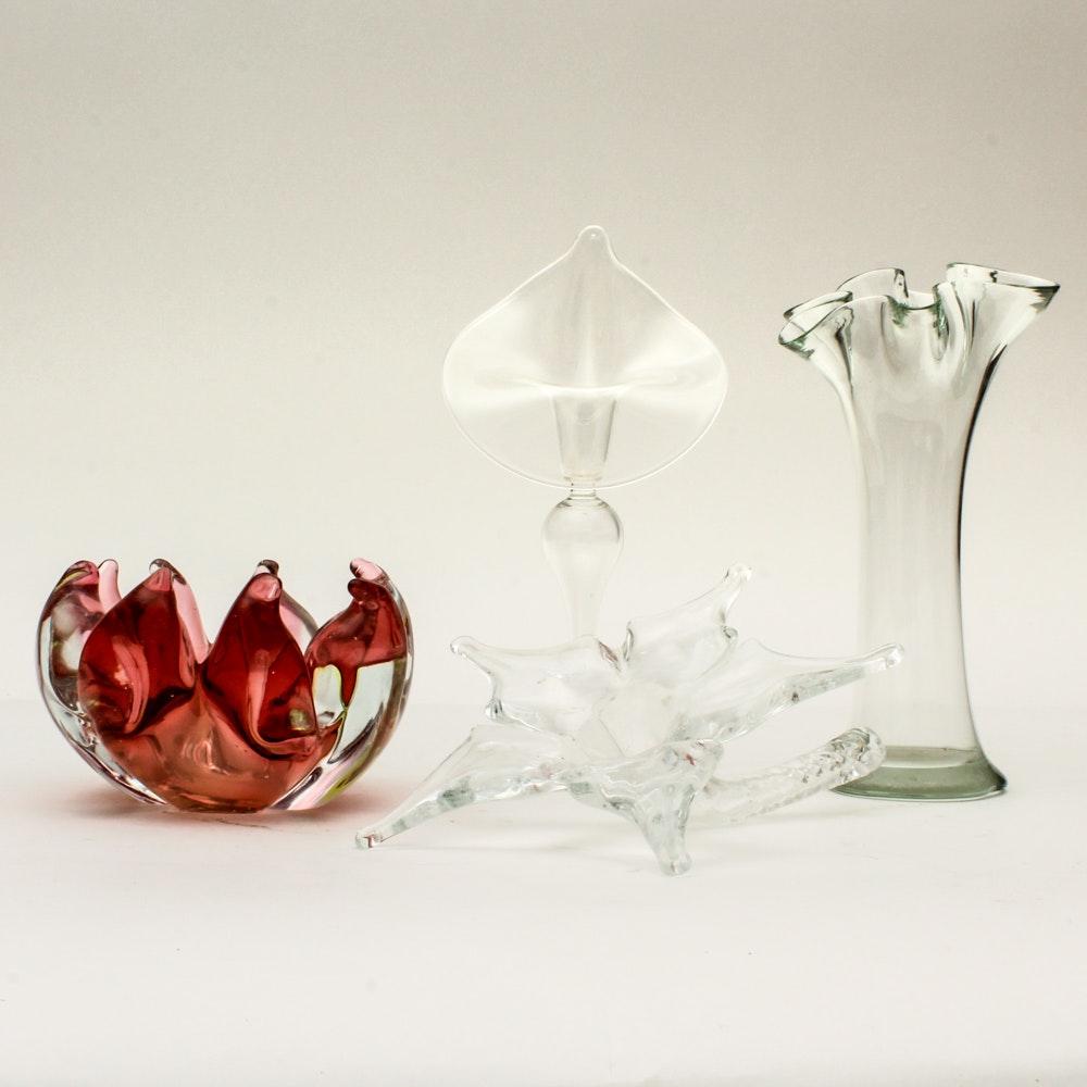 Decorative Glassware with Floral Motifs