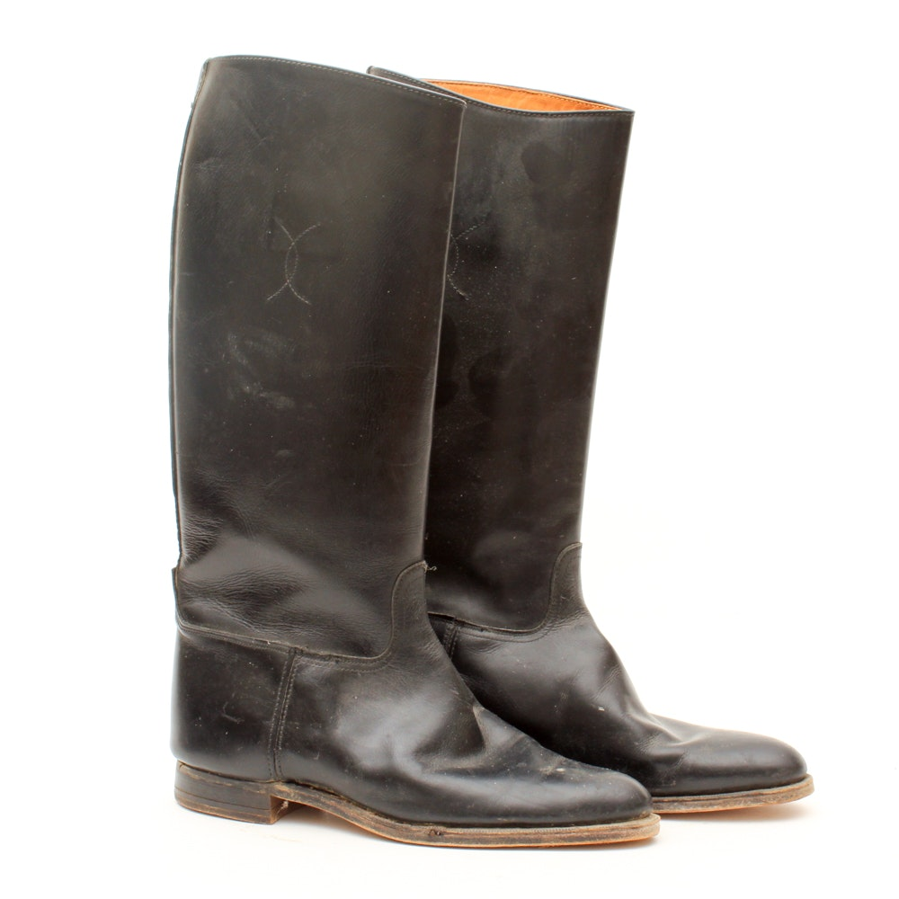 Women's Vintage Black Leather Riding Boots
