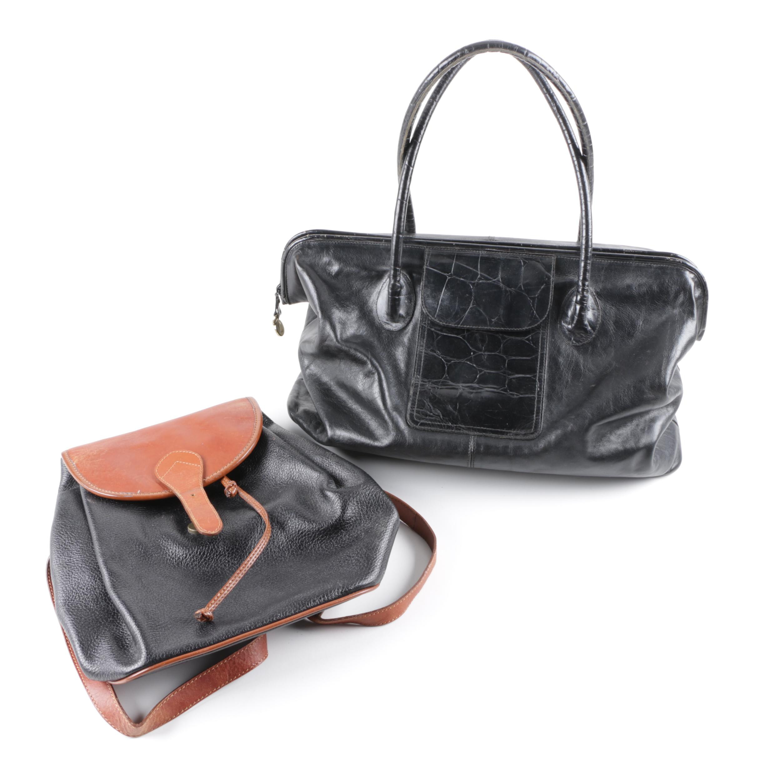 Furla Black Leather Handbag and Nine West Leather Backpack