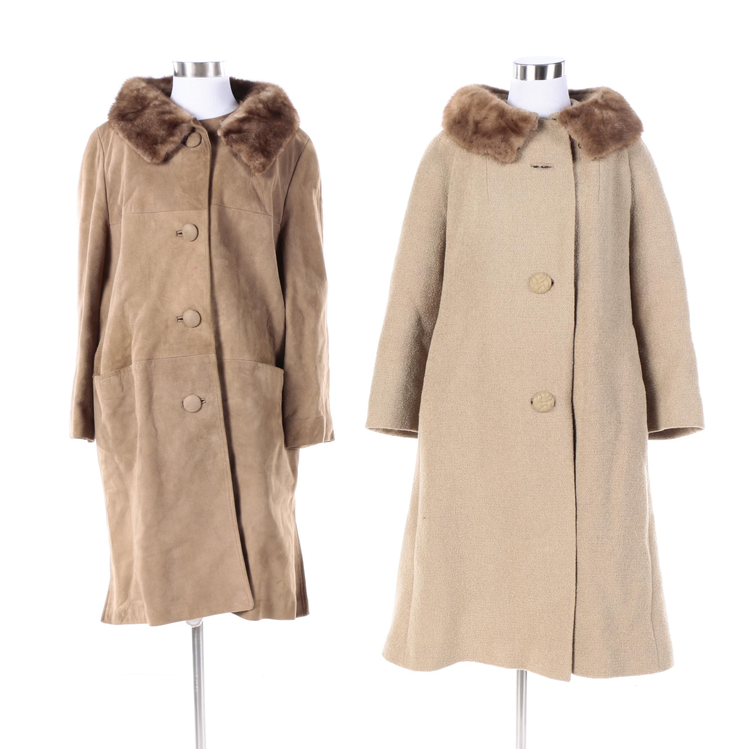 Women's 1960s Vintage Wool and Suede Coats with Mink Fur Collars