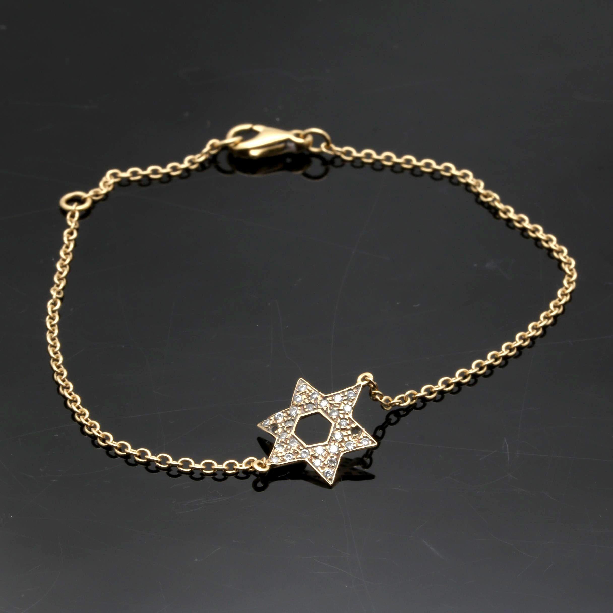18K Yellow Gold Diamond Star of David Bracelet
