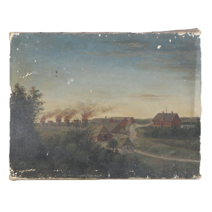 20th Century Oil Painting of Dutch Evening Landscape
