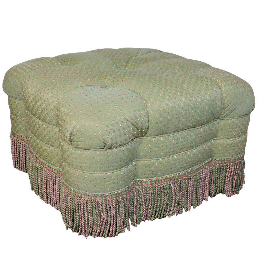 Admirable Quatrefoil Ottoman With Bullion Fringe By Lee Coggin Theyellowbook Wood Chair Design Ideas Theyellowbookinfo