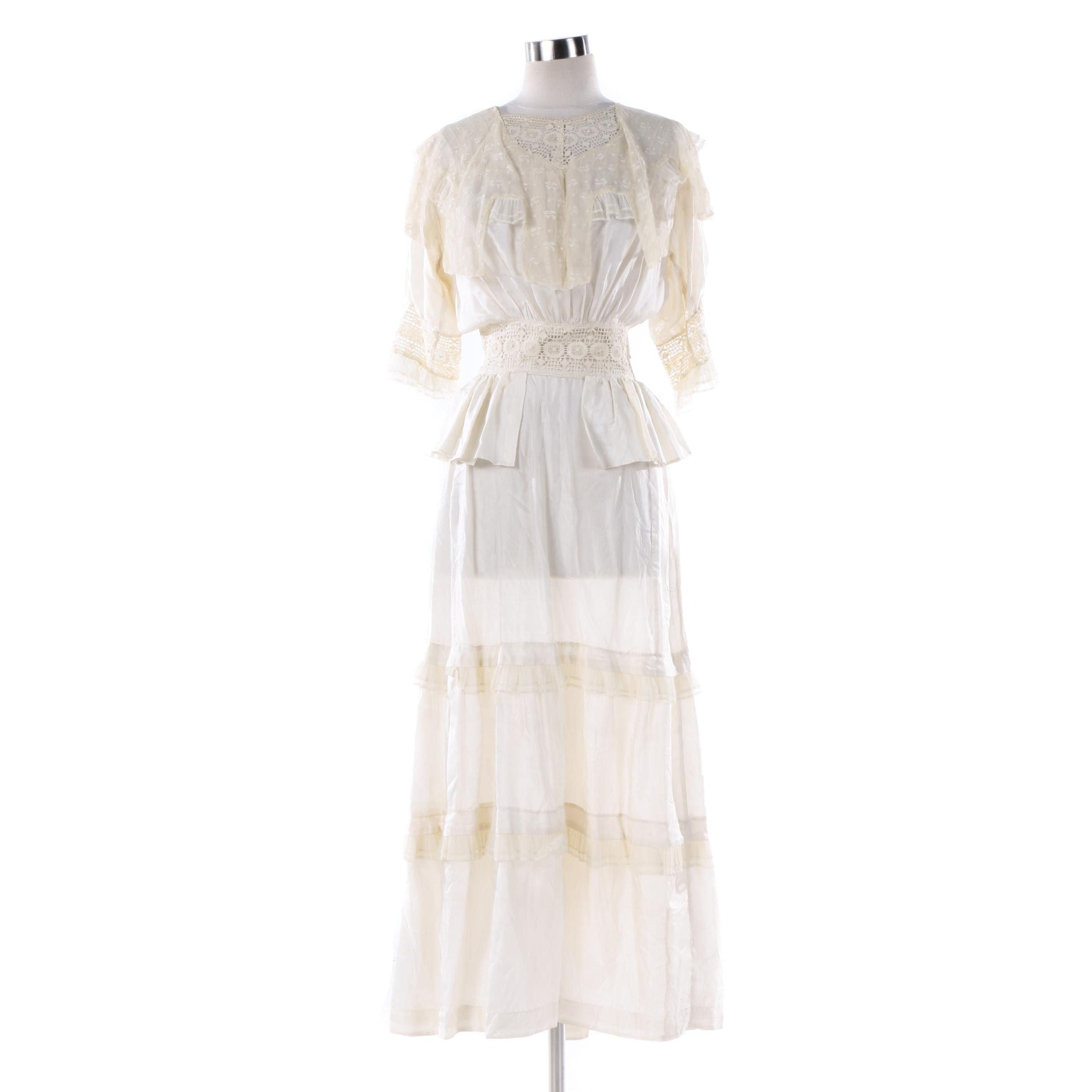 Vintage Silk Gauze and Crochet Lace Dress