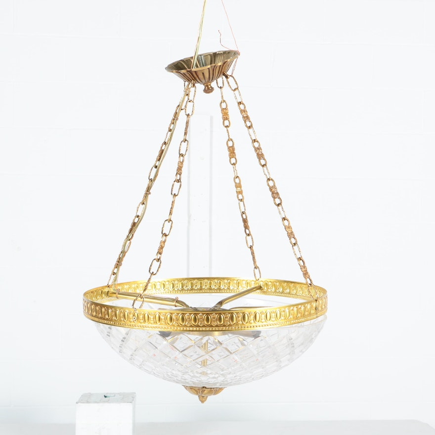 Brass and cut glass dome pendant light ebth brass and cut glass dome pendant light aloadofball Gallery