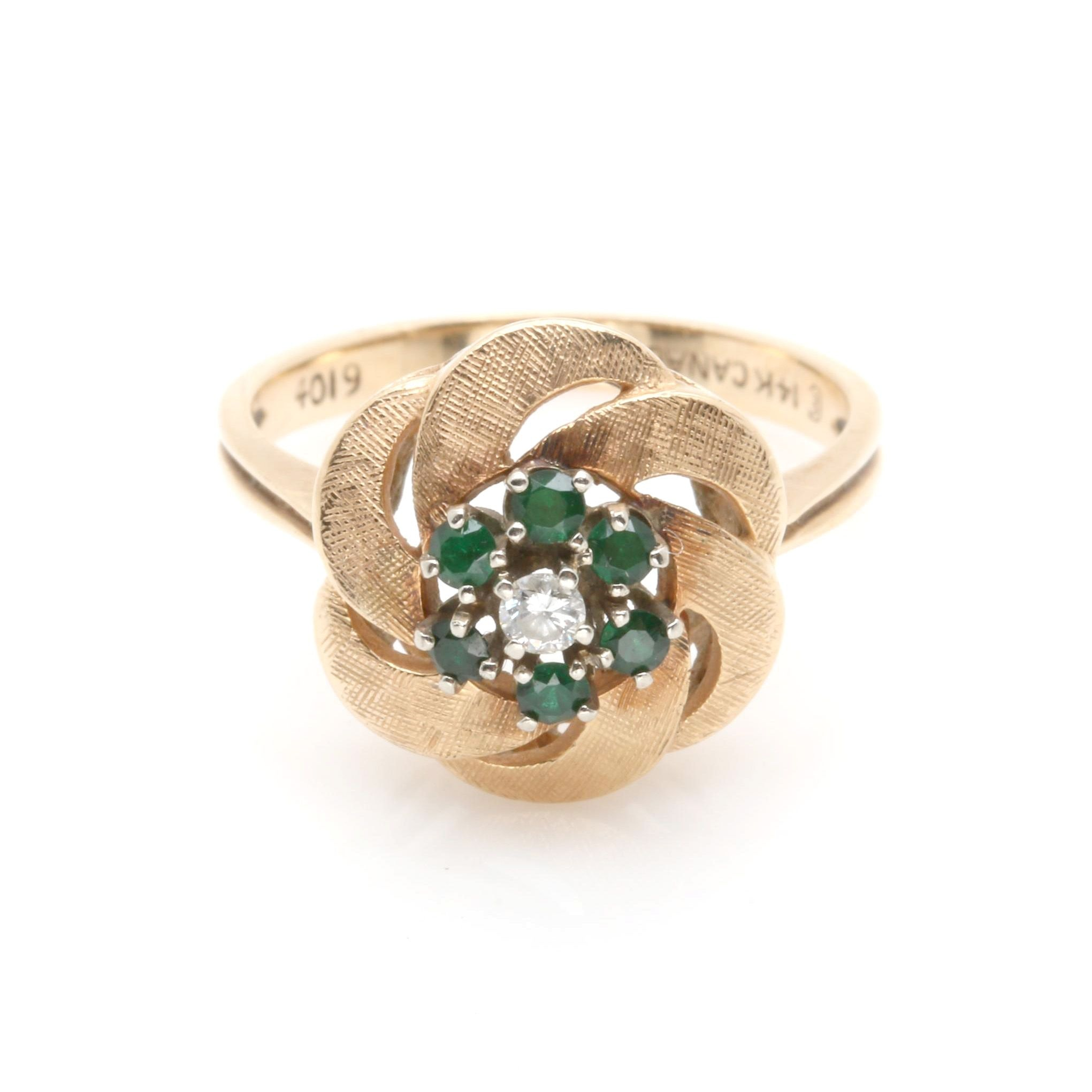 14K Yellow Gold Diamond and Imitation Emerald Ring