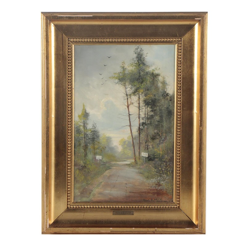 Carl Ove Julian Lund Early 20th Century Oil Painting of Country Lane