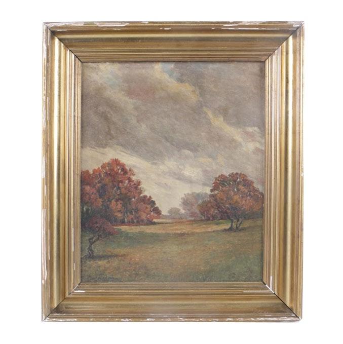 Gustav Frölund Oil Painting of Impressionist Style Landscape