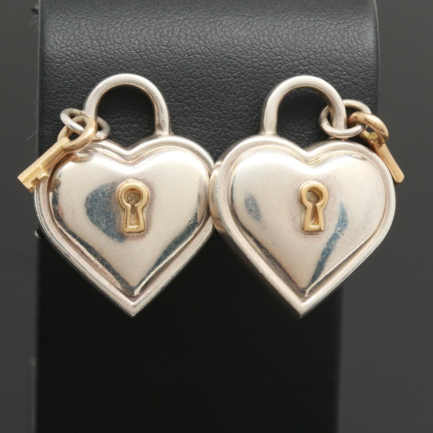 Circa 1994 Tiffany Co Sterling Silver And 18k Yellow Gold Heart Earrings