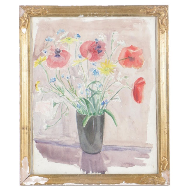 Mid Century Watercolor Painting of Floral Still Life