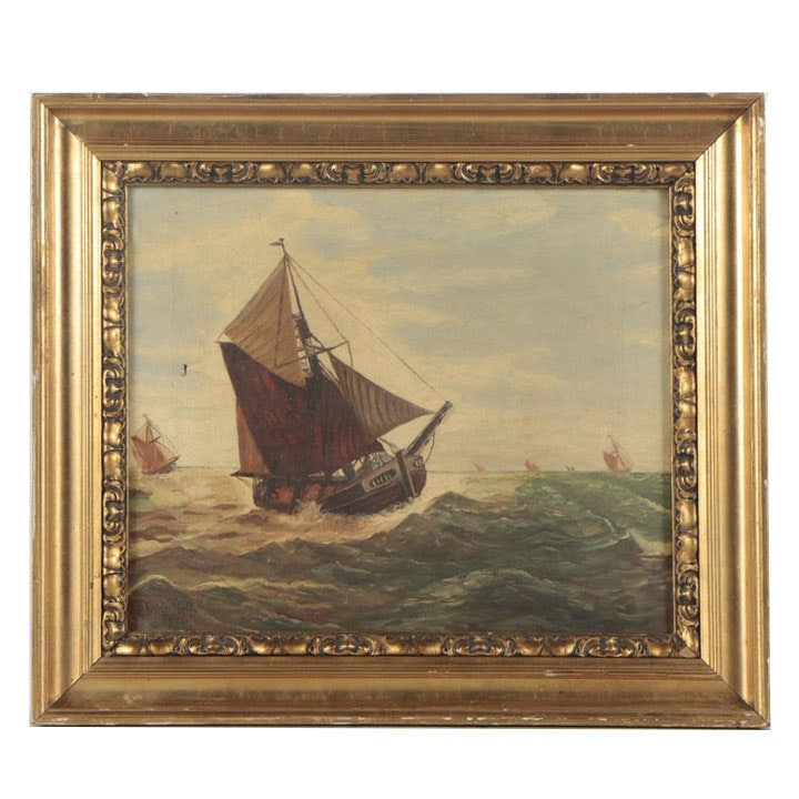 John Bell 1926 Oil Painting of Ships at Sea