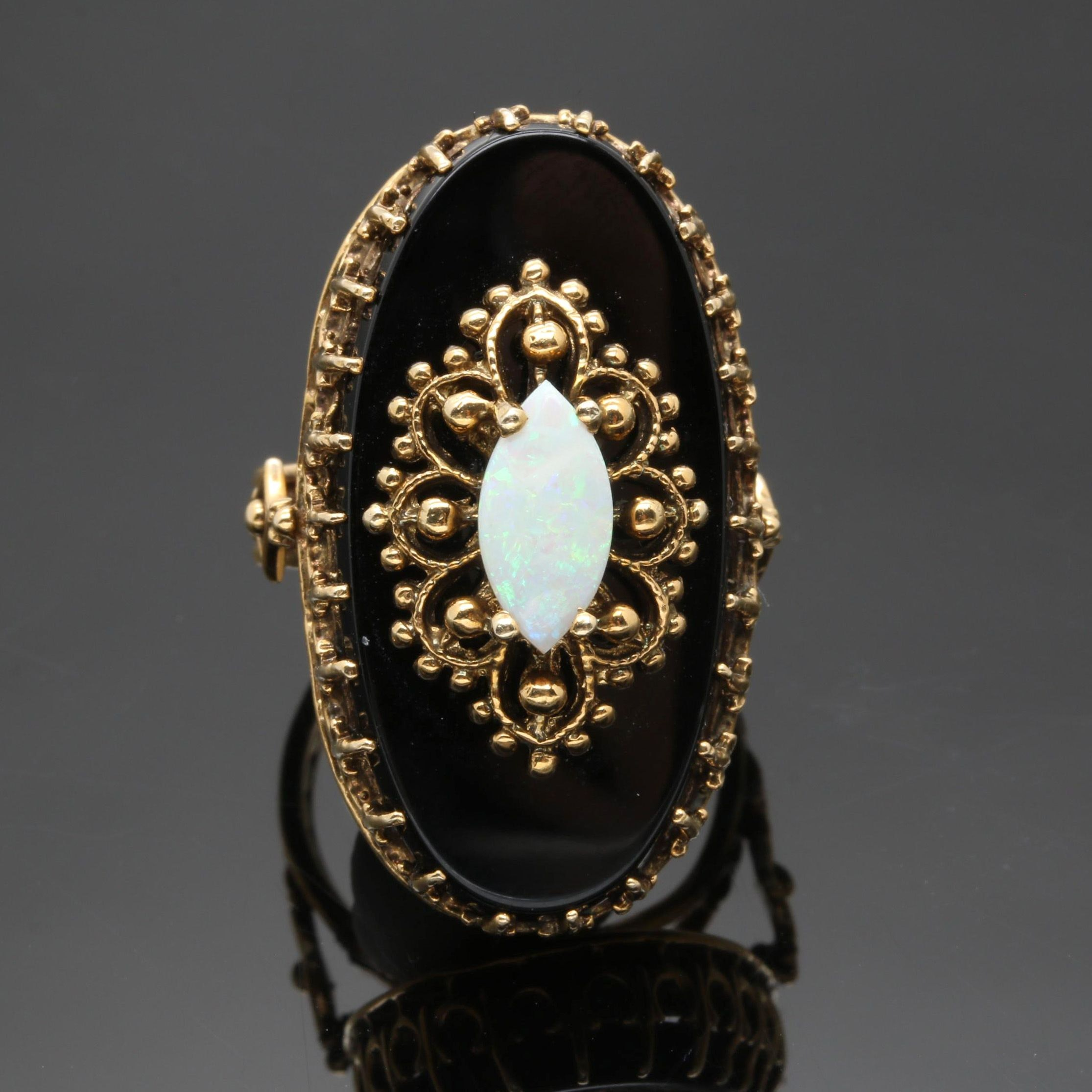 14K Yellow Gold Opal and Black Onyx Ring