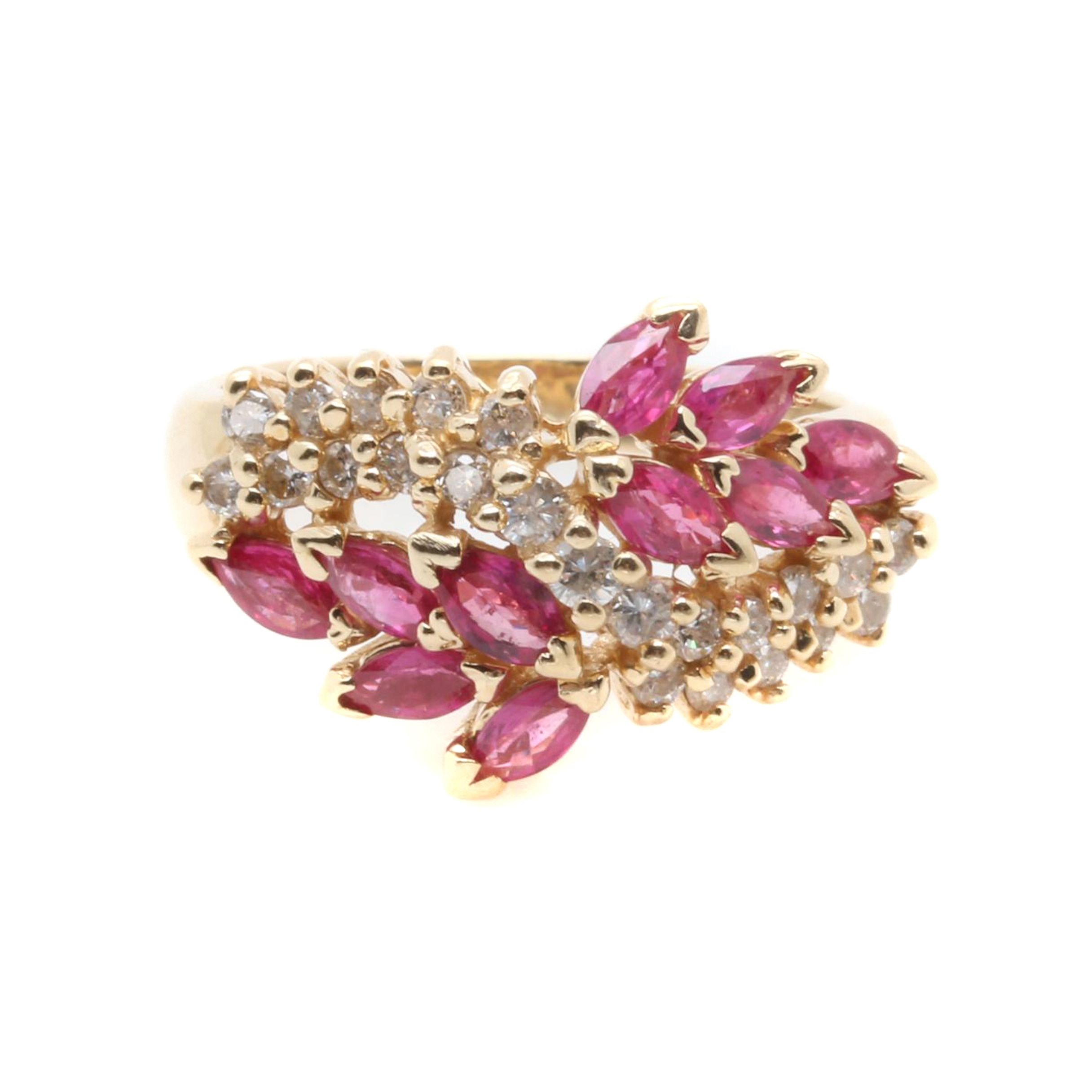 EFFY 14K Yellow Gold Diamond and Ruby Ring