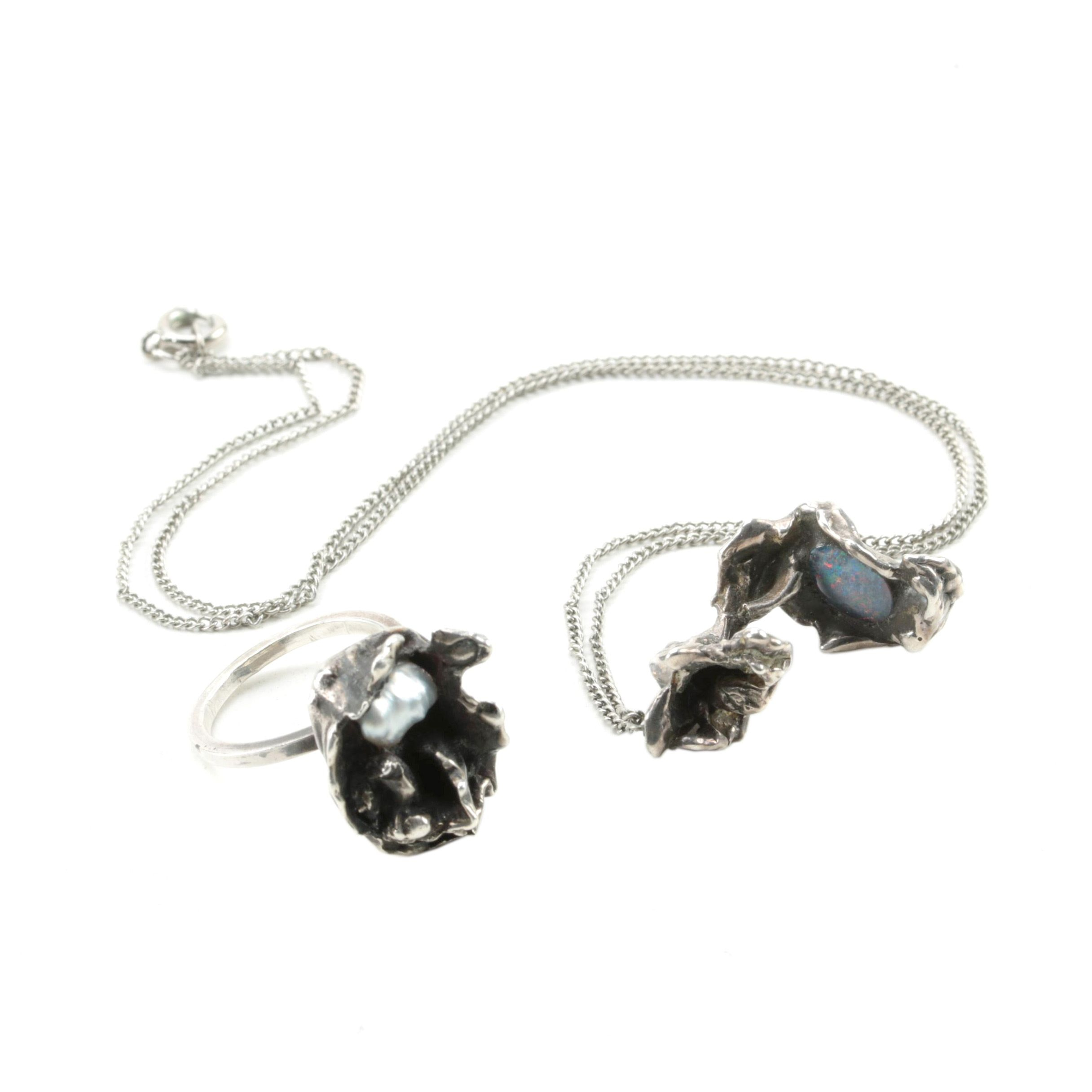 Sterling Silver Opal and Cultured Pearl Biomorphic Ring and Pendant Necklace