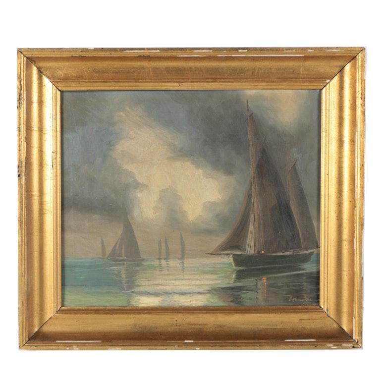 Mid Century Oil Painting of Sailboats Under Parting Clouds