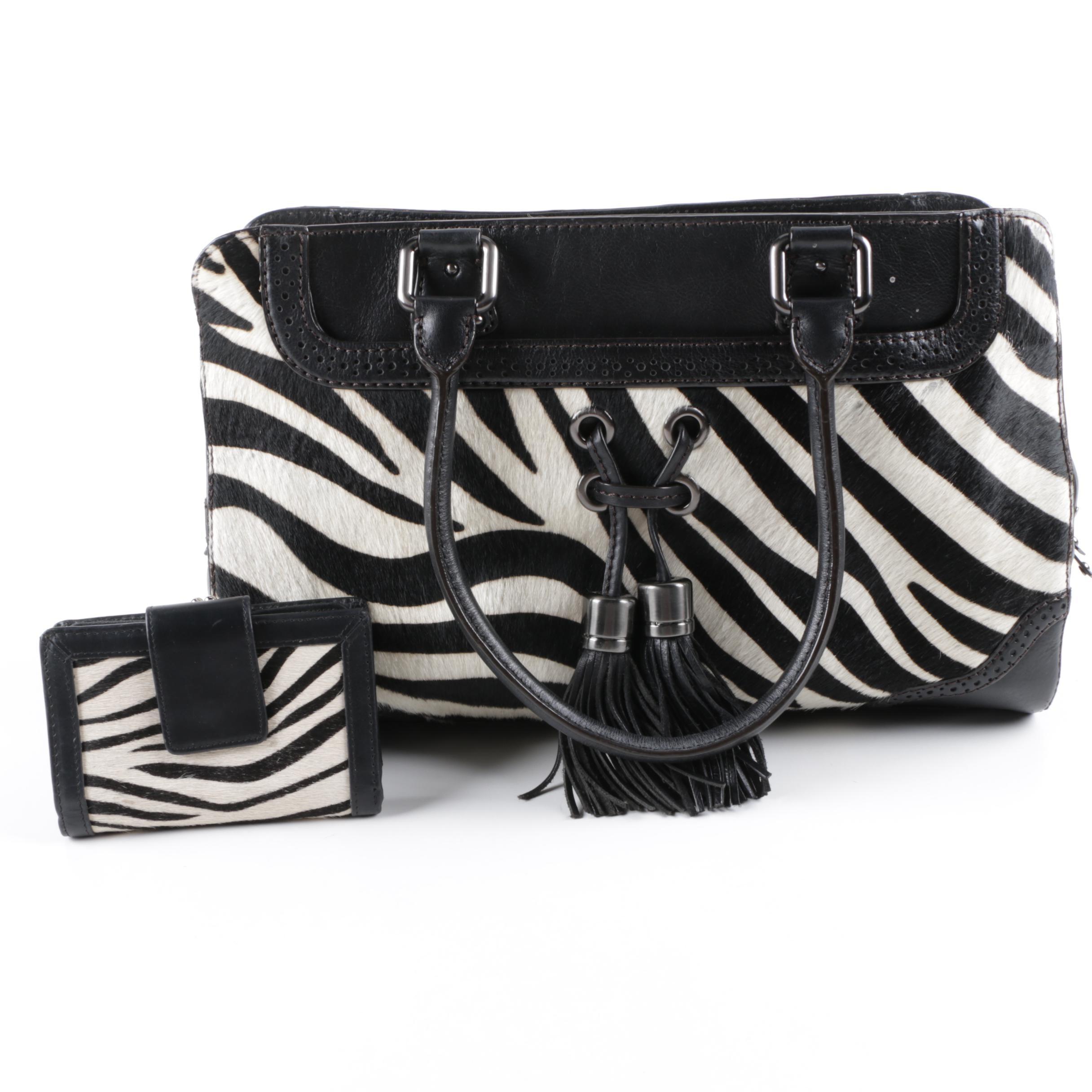 Antonio Melani Zebra Print Pony Hair Handbag and Wallet
