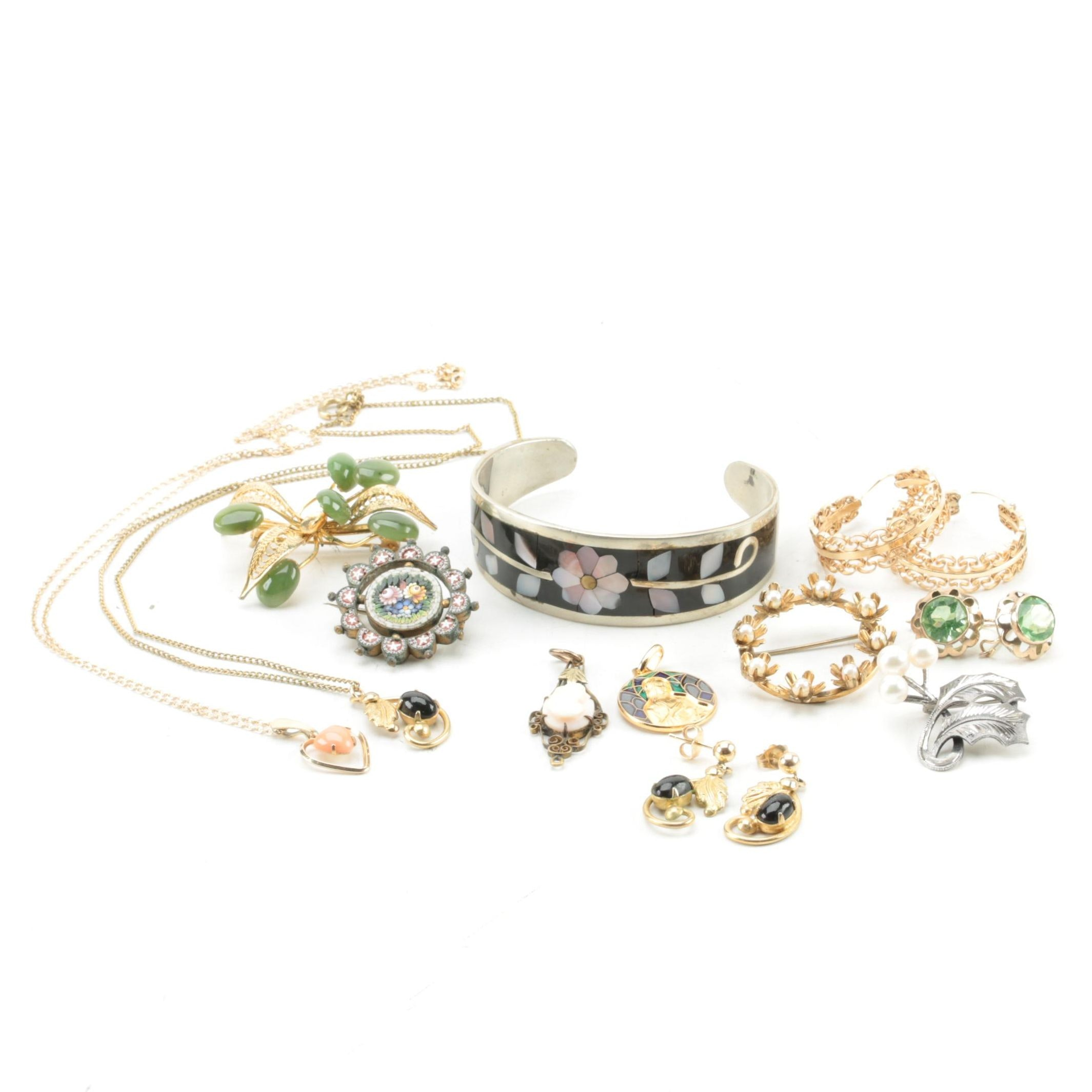 Collection of Costume Jewelry Including a Sterling Brooch and 14K Gold Findings