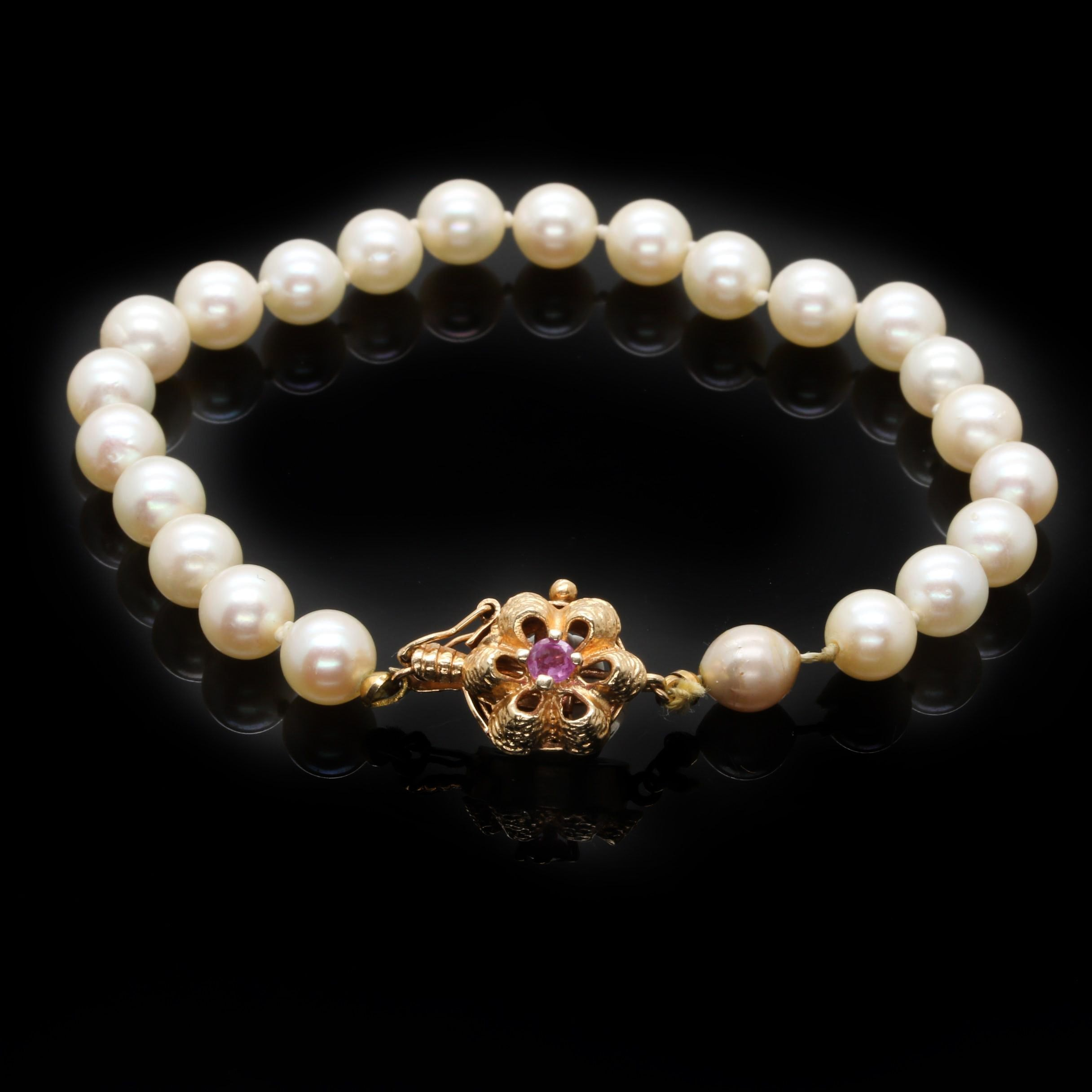 14K Yellow Gold Cultured Pearl Bracelet With Ruby Accent