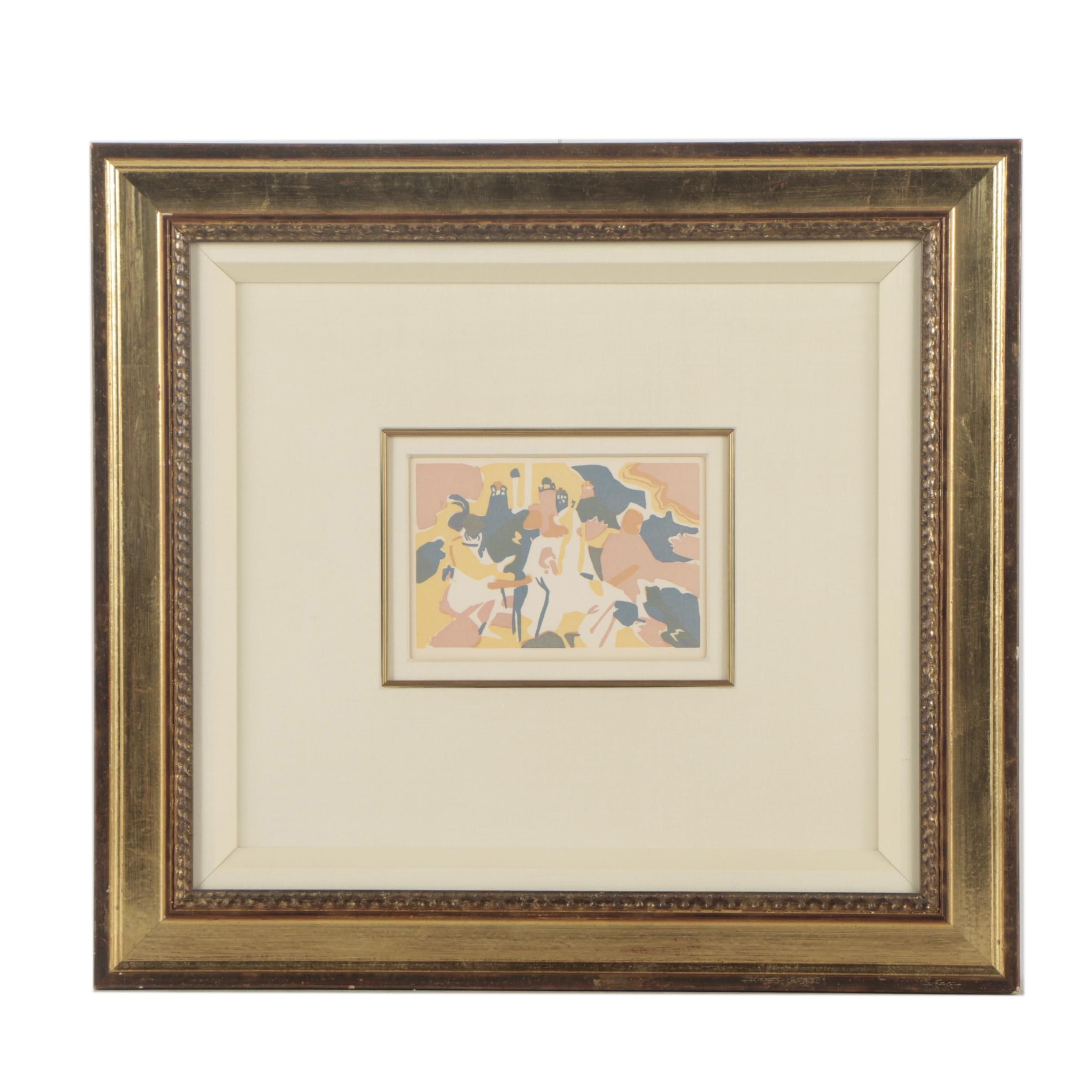 """Wassily Kandinsky Color Woodcut """"Orientalisches"""" Designed for XXE Sièclé"""