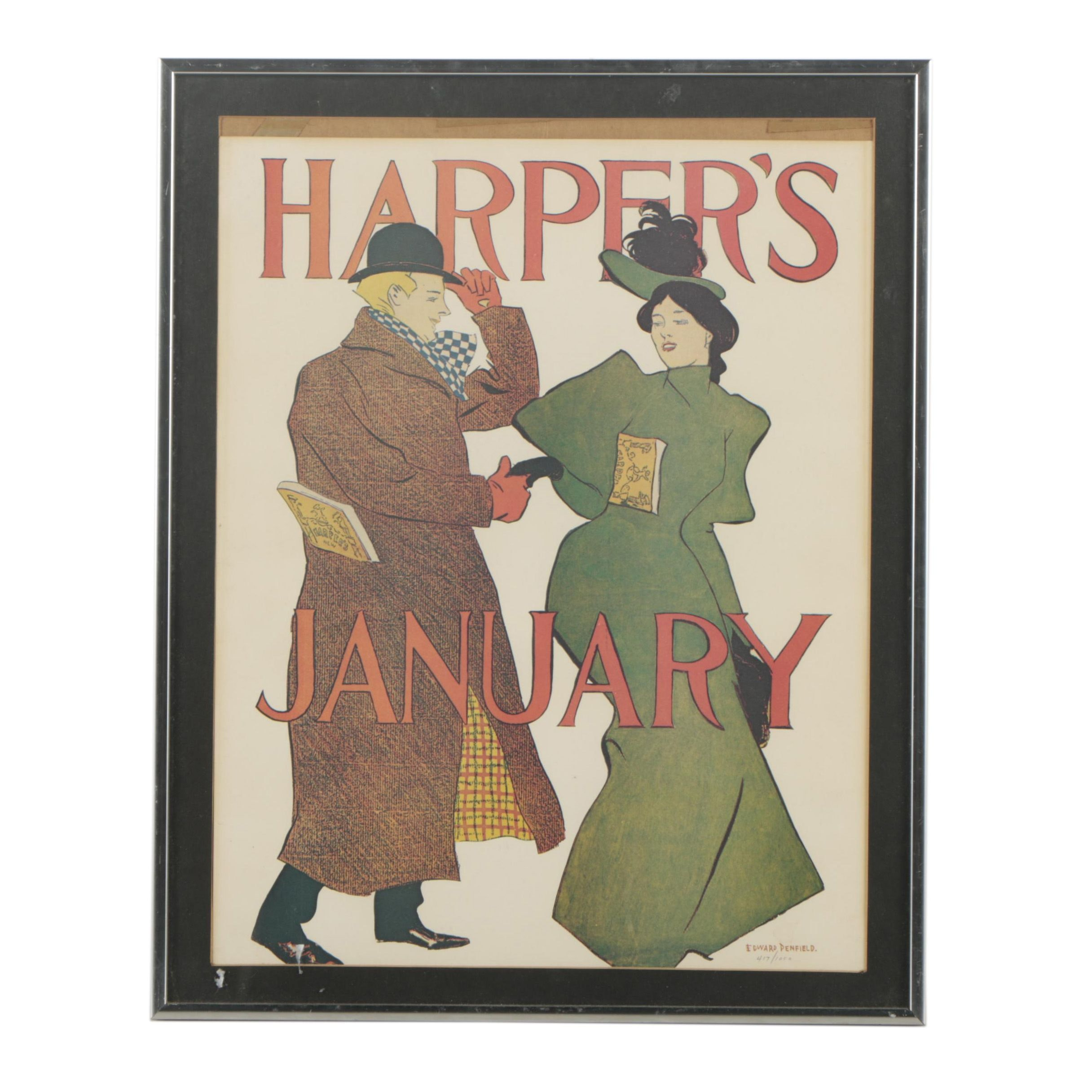 """Offset Lithograph Reproduction After Edward Penfield """"Harper's"""" Magazine Cover"""