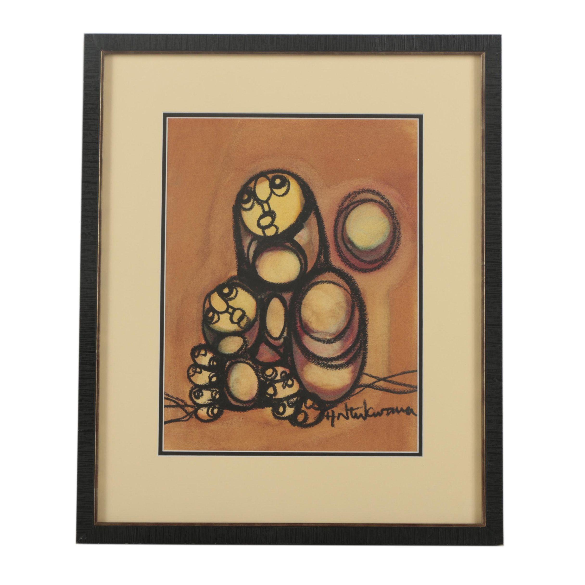 Hargreaves Ntukwana Abstract Charcoal and Pastel Drawing