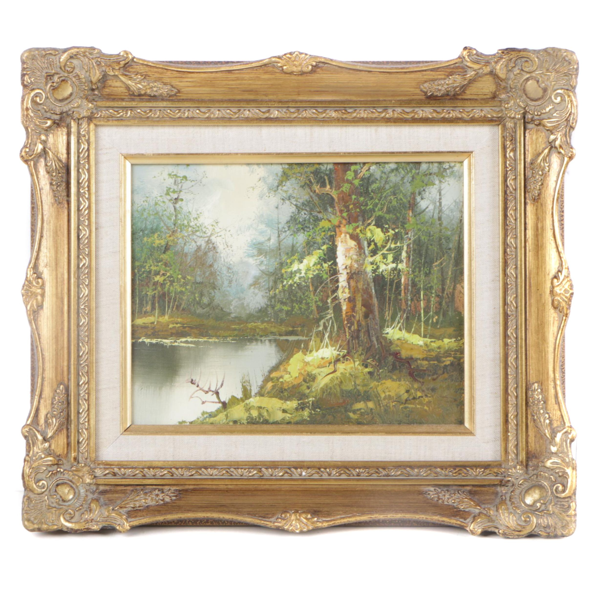 Oil Painting of a Wooded Landscape