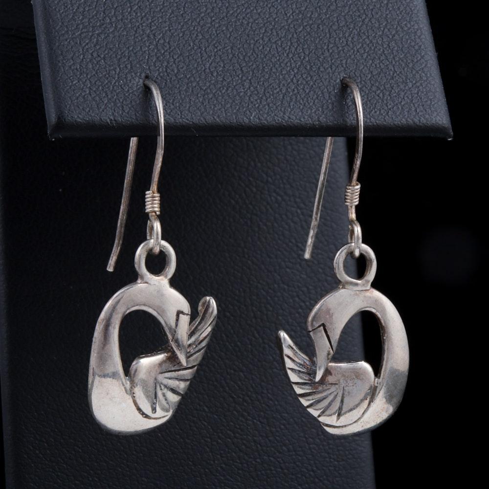 Sterling Silver Swan Charm Dangle Earrings