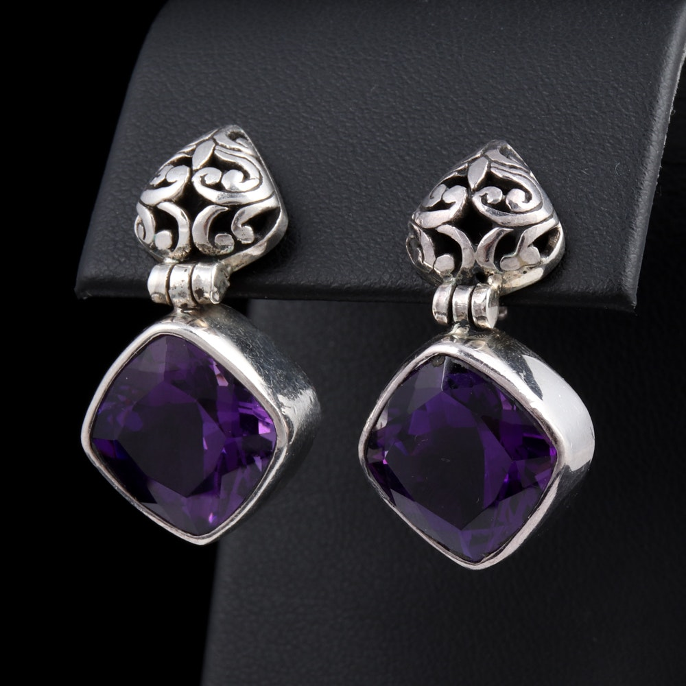Sterling Silver and Purple Cubic Zirconia Earrings