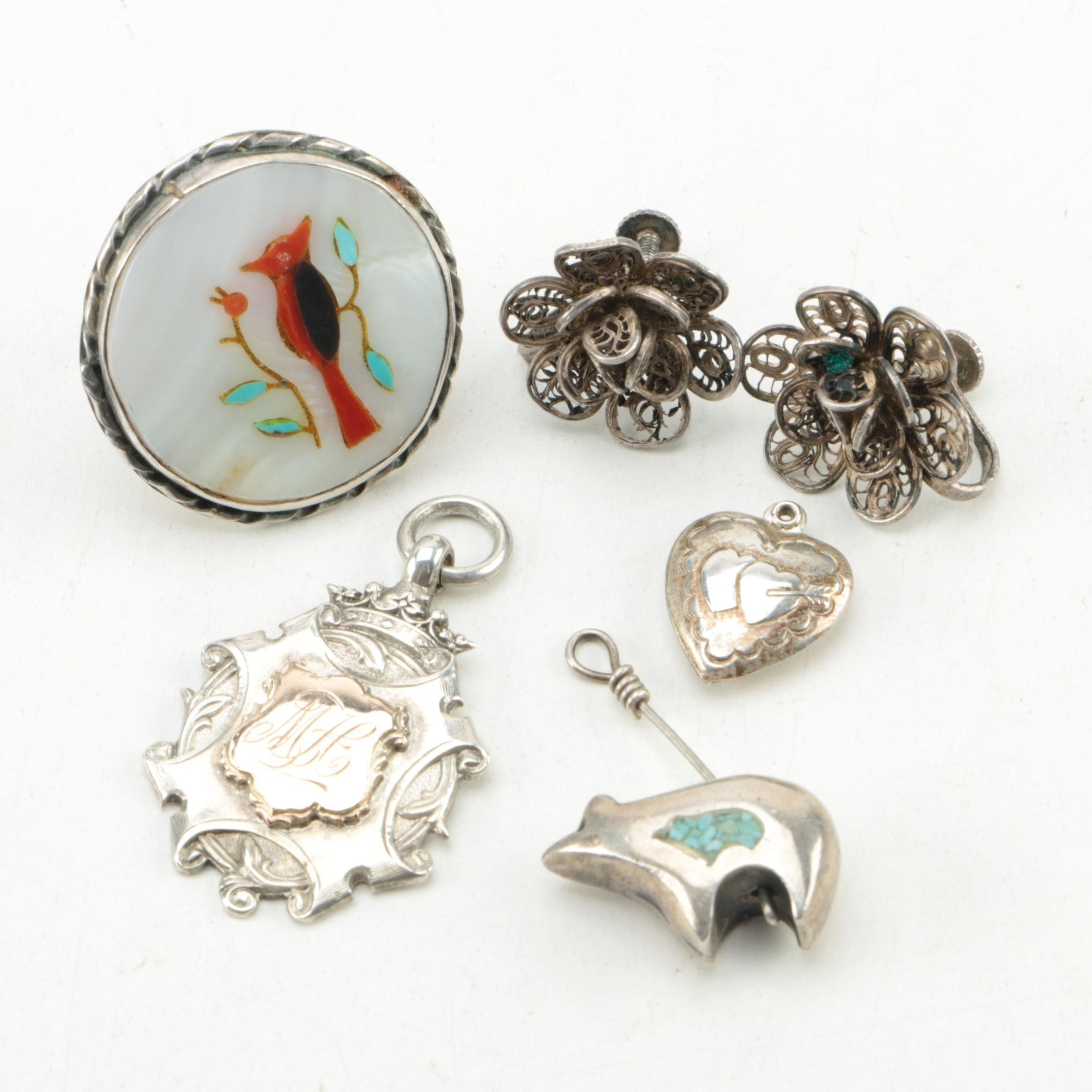 Assortment of Sterling Silver Mother of Pearl, Turquoise and Coral Jewelry