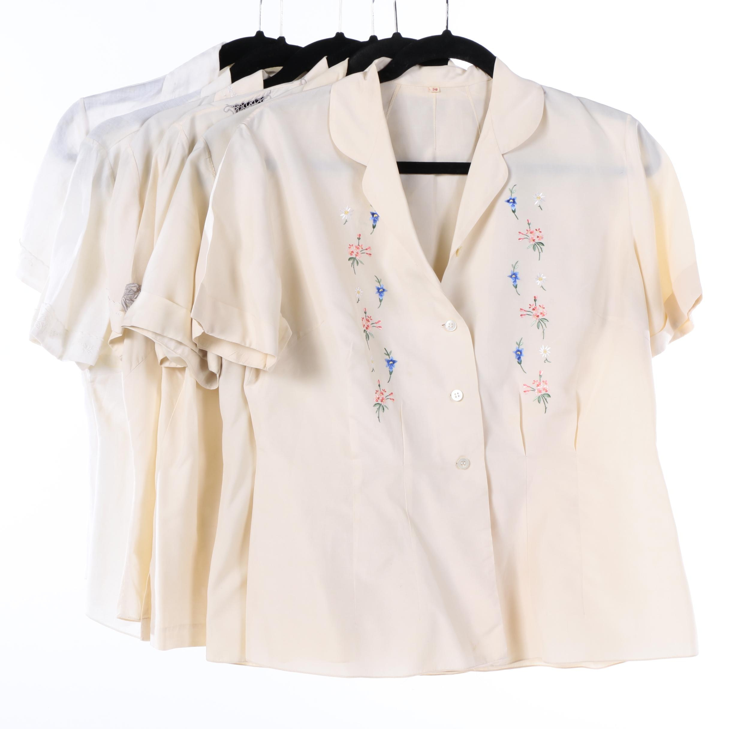 Women's Vintage Silk and Linen Short Sleeve Blouses