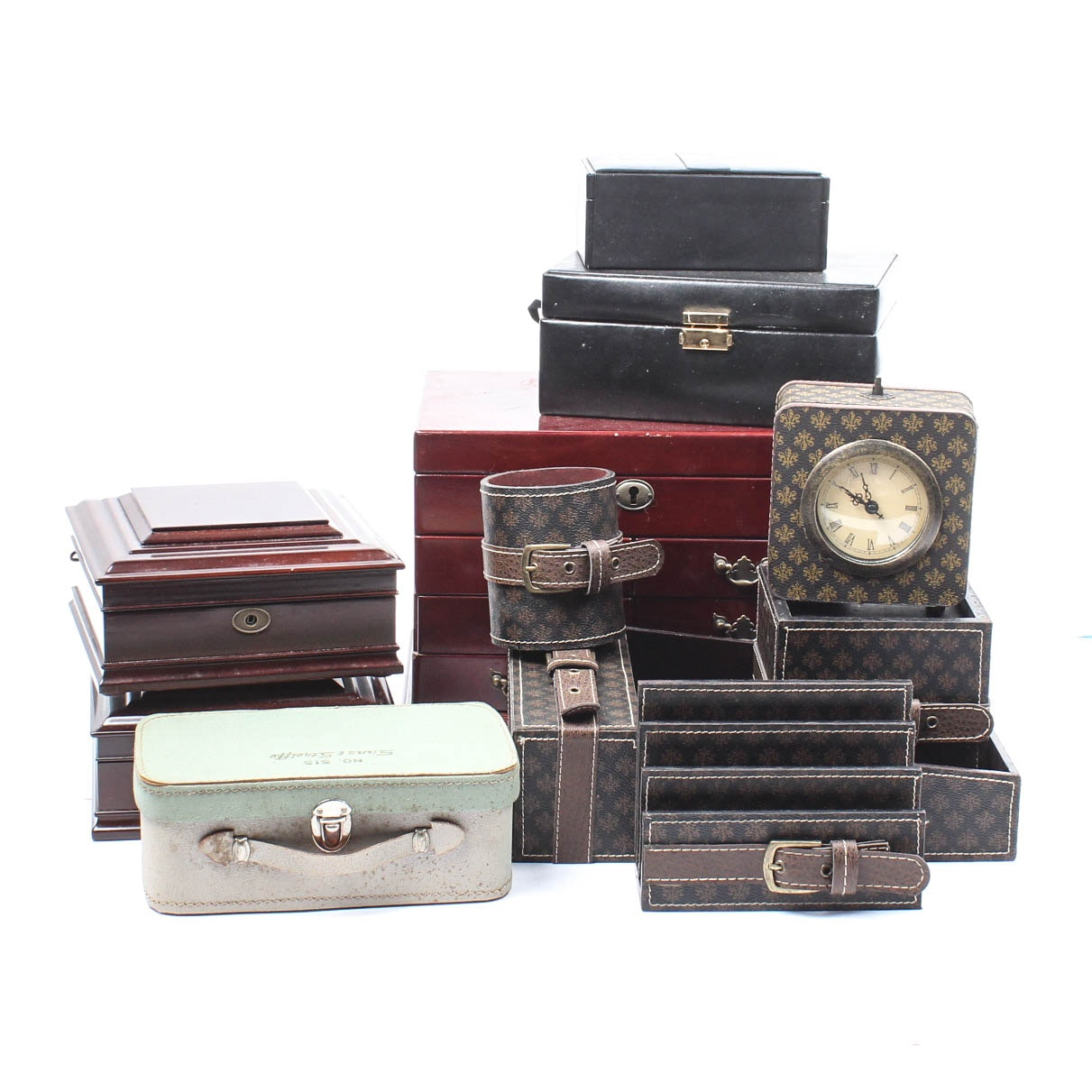 Jewelry Boxes and Faux Leather Desk Set