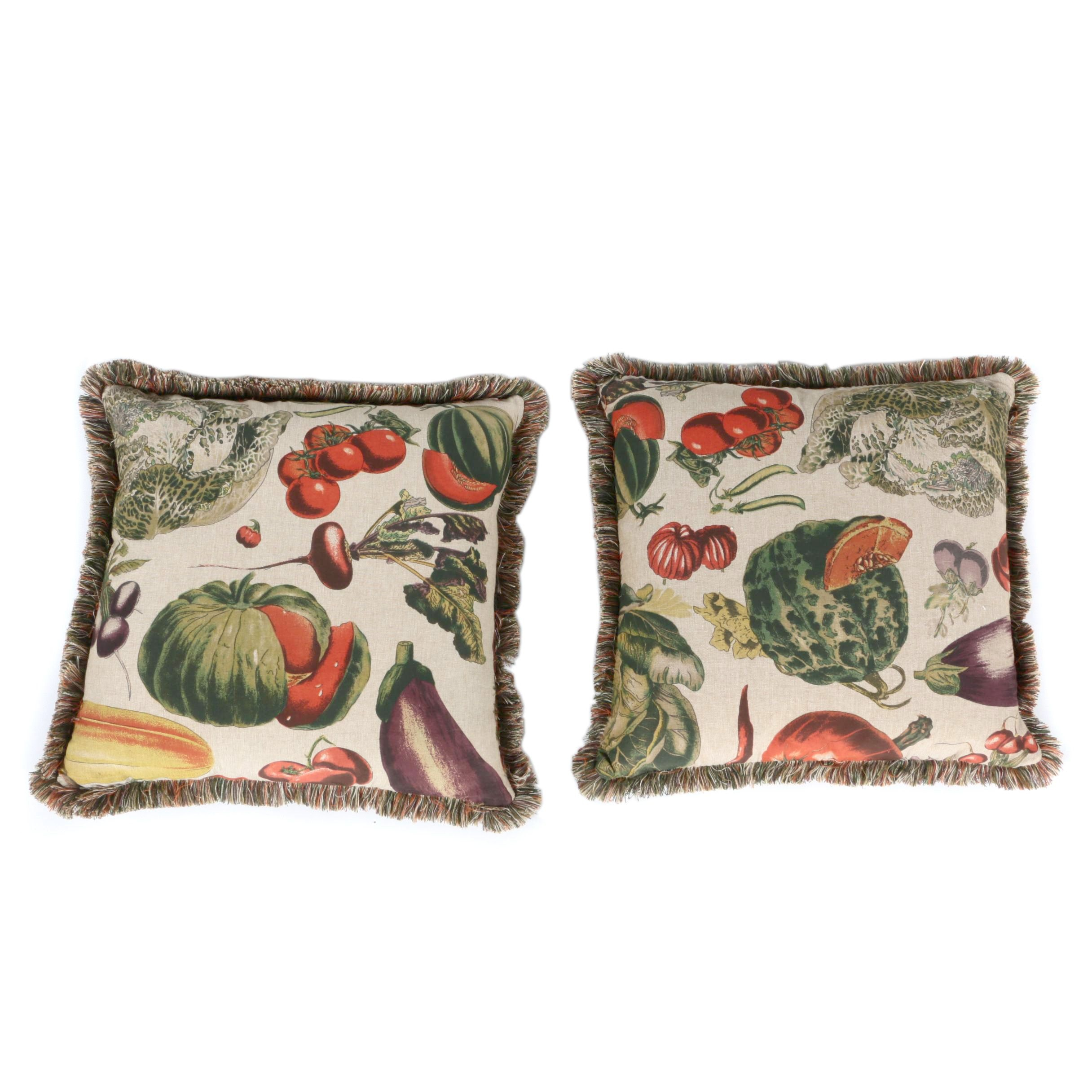 Large Vegetable Print Fabric Pillows