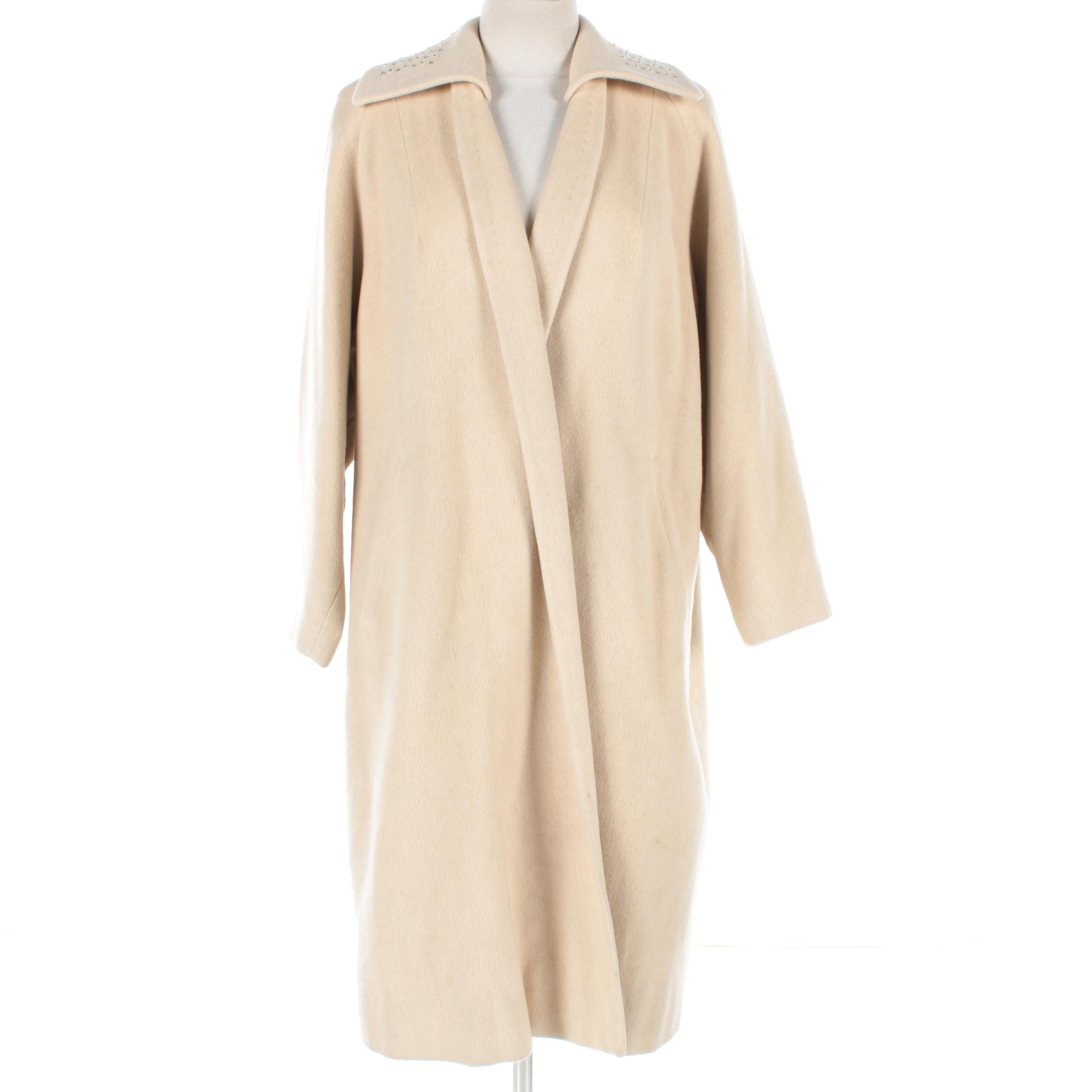 Neusteters Cashmere Coat with Detachable Embellished Collar