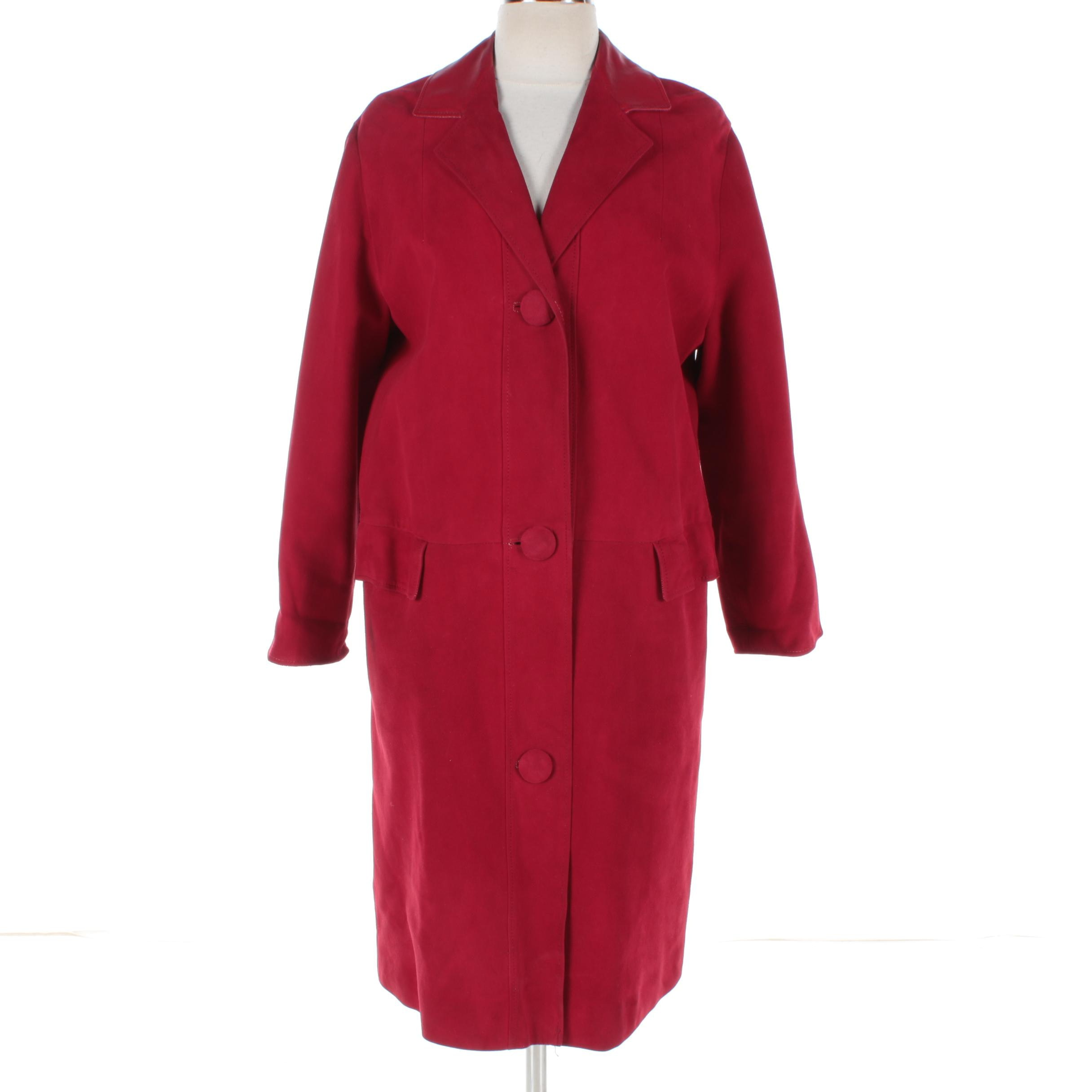 Women's Red Suede and Leather Overcoat