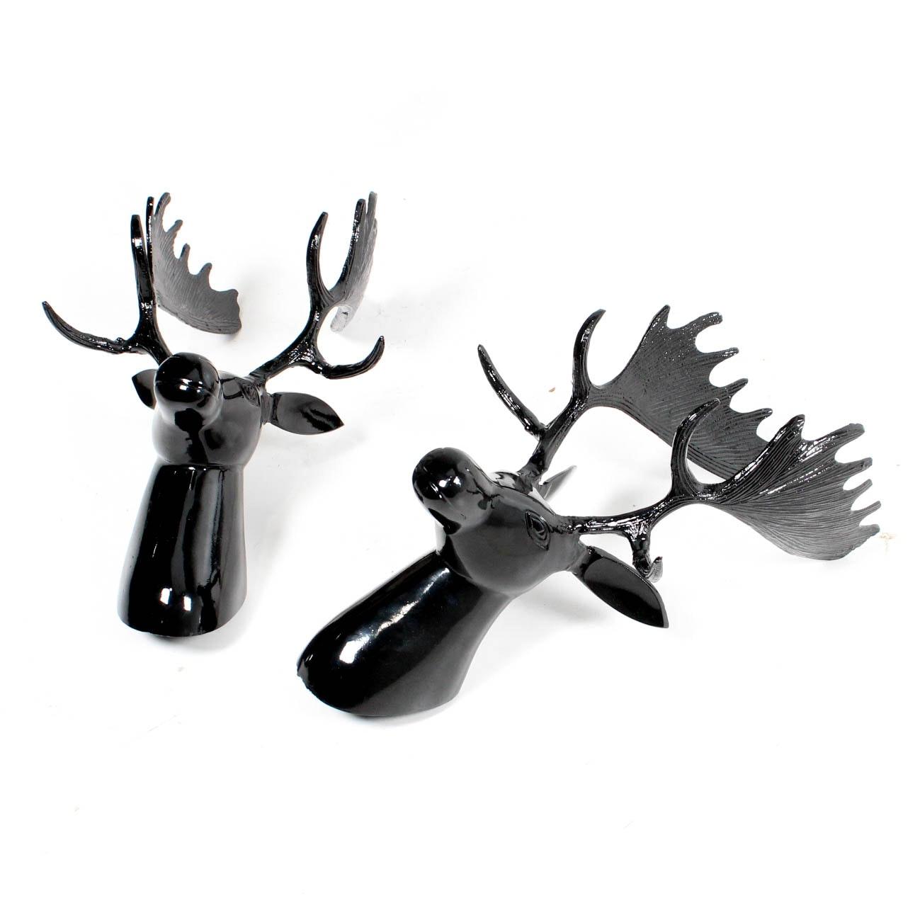 Cast Metal Moose Head Wall Decor