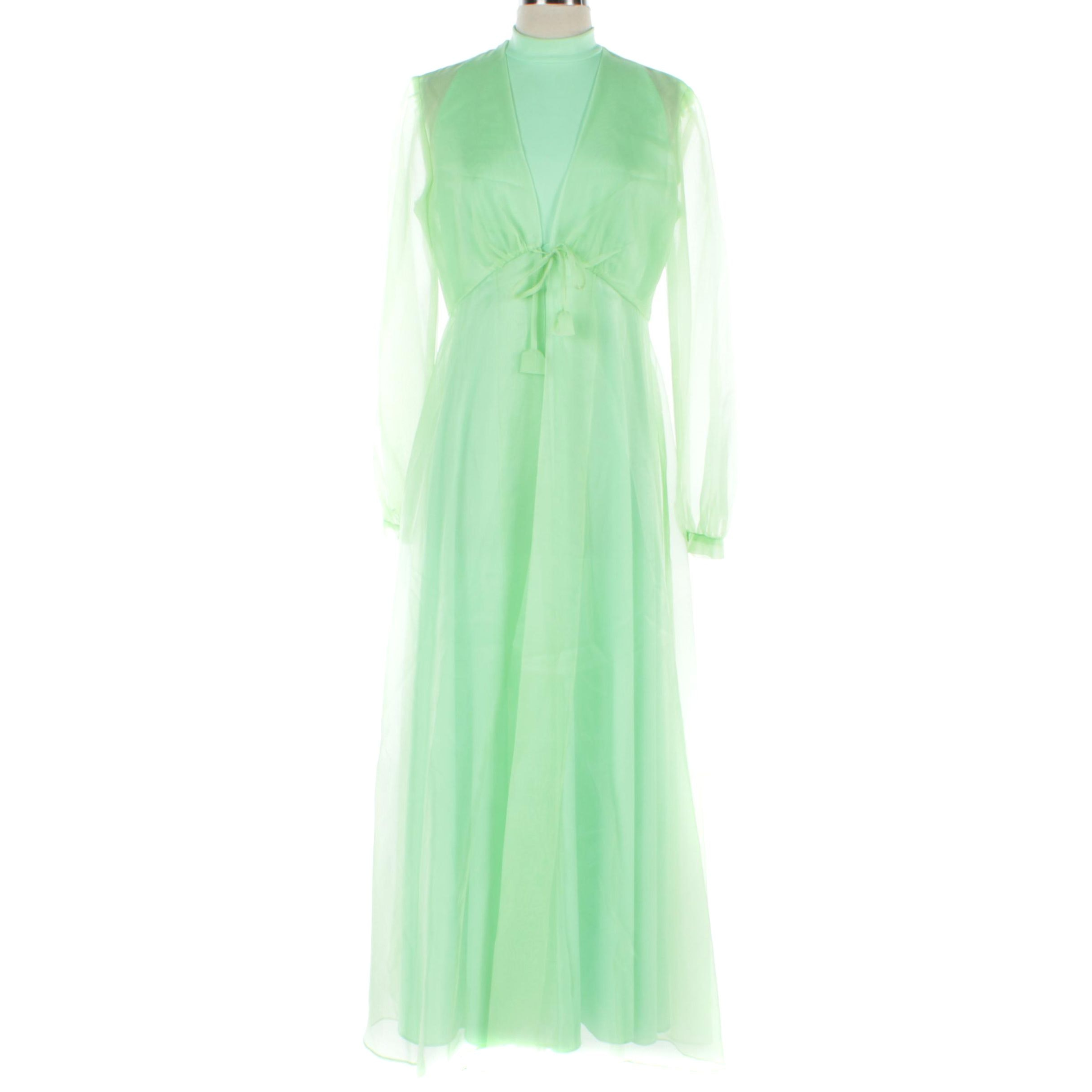 Circa 1960s Green Sleeveless Nylon Gown with Sheer Organdy Long-Sleeve Jacket
