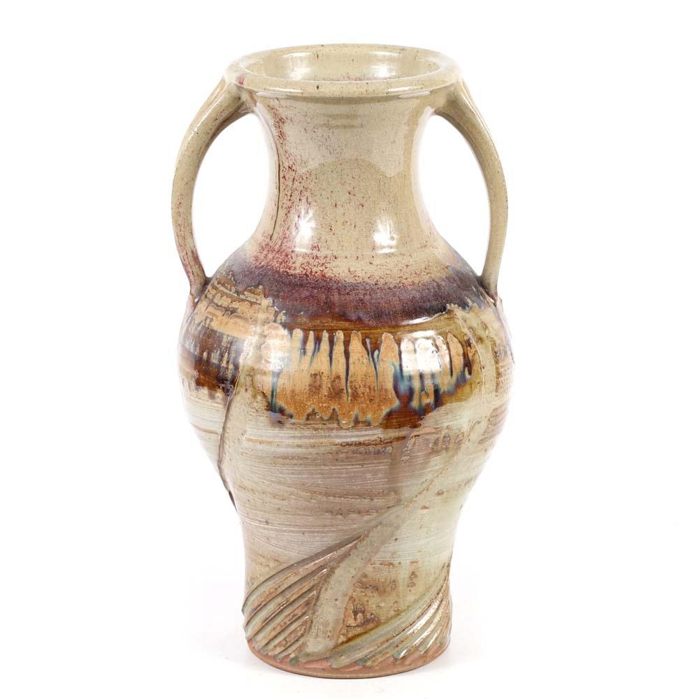 Signed Hand Thrown Stoneware Urn