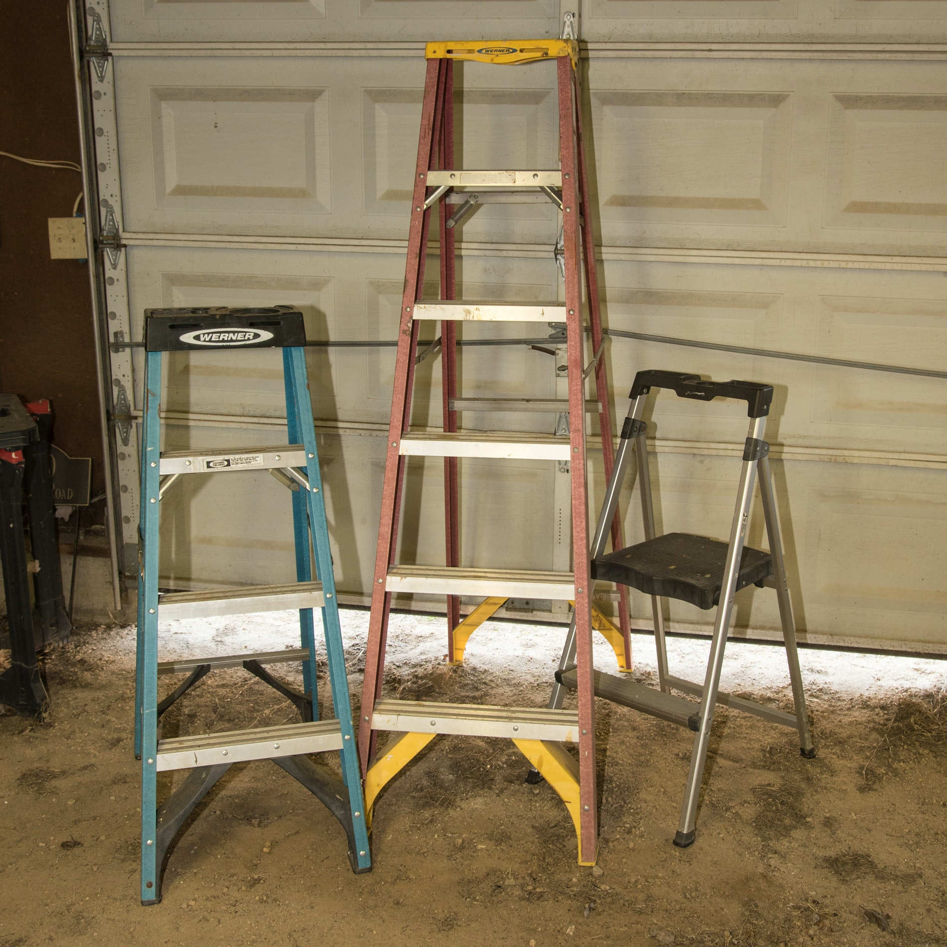 Assorted Ladders including a Werner Extension Ladder