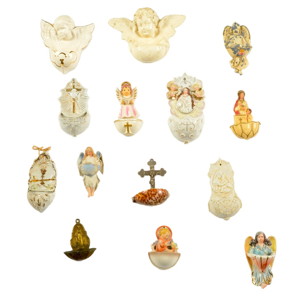 Selection of Mid-Century Holy Water Wall Pockets