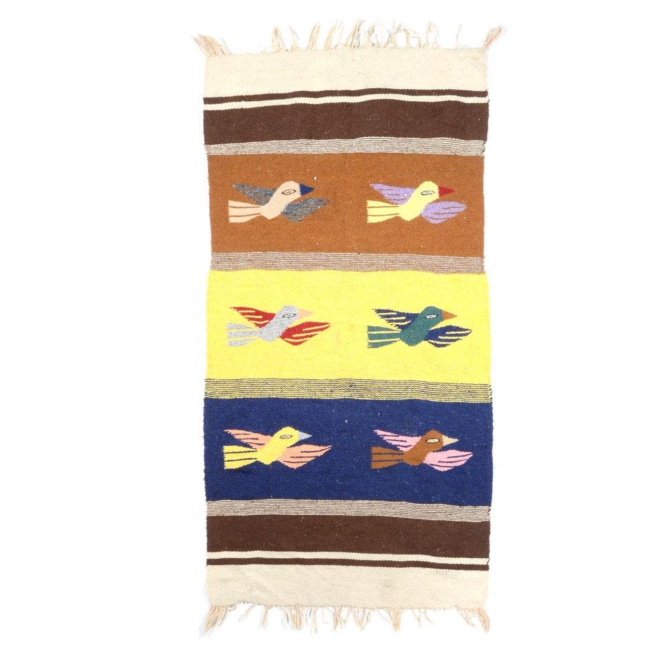 Mid-Century Navajo Native American Tourist Woven Blanket