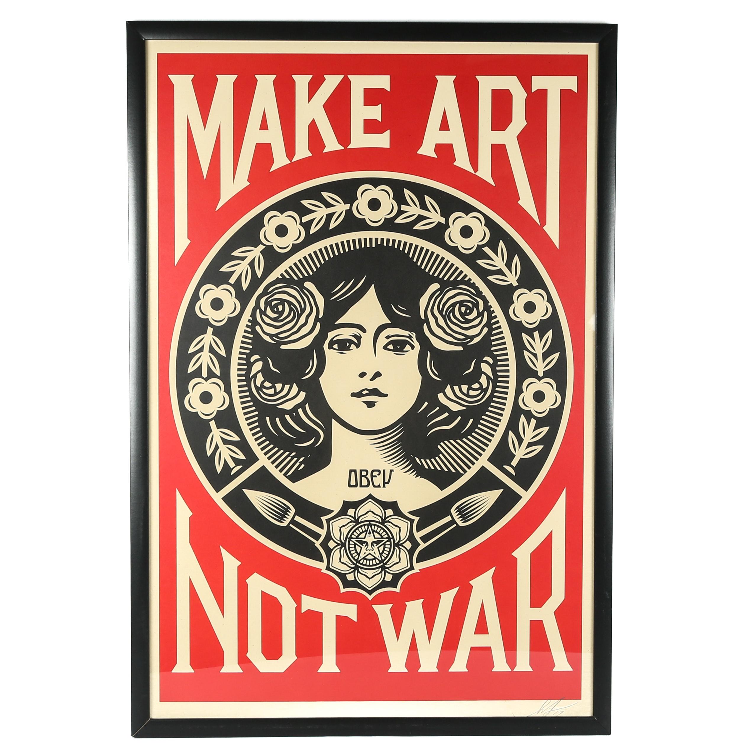 """Shepherd Fairey Offset Print """"Make Art Not War"""""""