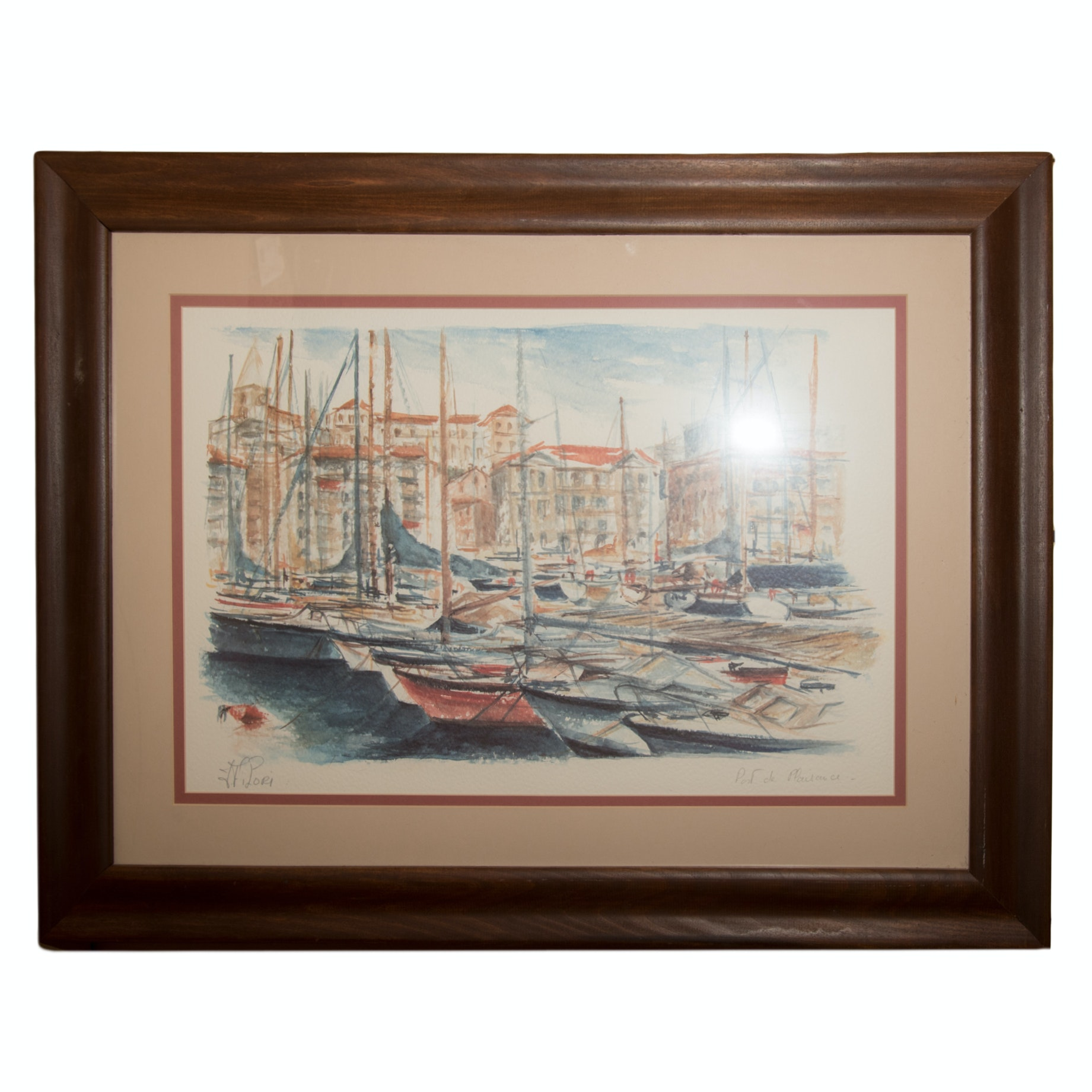 Signed Offset Lithograph after Watercolor of Harbor Scene