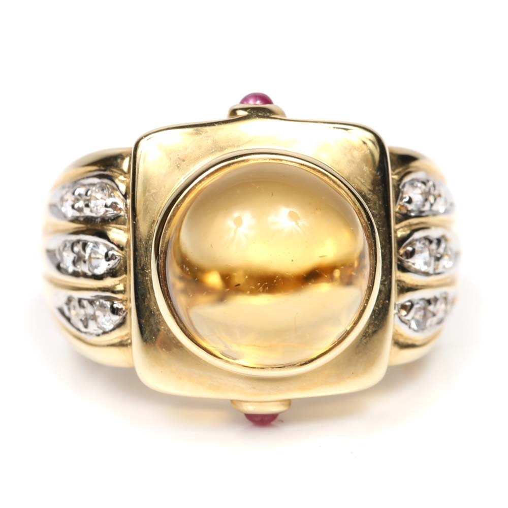 14K Yellow Gold Citrine, Topaz and Ruby Ring