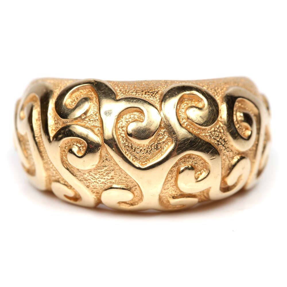 14K Yellow Gold Textured Swirl Top Ring