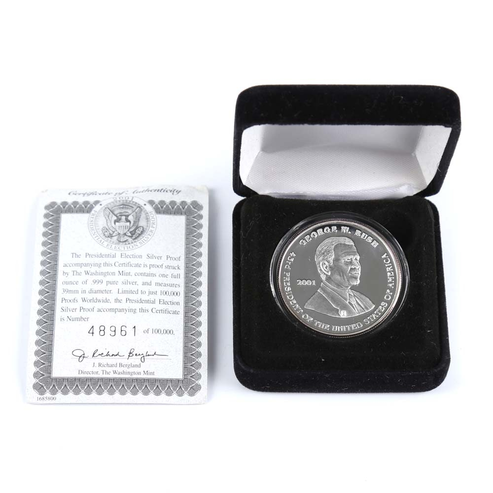 .999 Silver 2001 Presidential Election Proof Coin
